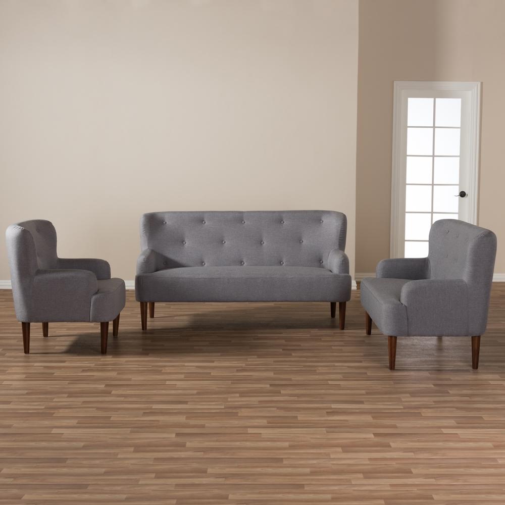 Walnut Living Room Furniture Sets Baxton Studio Toni Mid Century Modern Light Grey Fabric