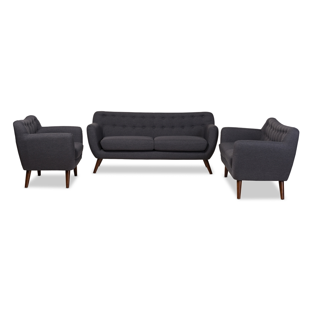 Baxton Studio Harper Mid Century Modern Dark Grey Fabric Upholstered Walnut  Wood Button Tufted. Sofa Sets   Living Room Furniture   Affordable Modern Furniture