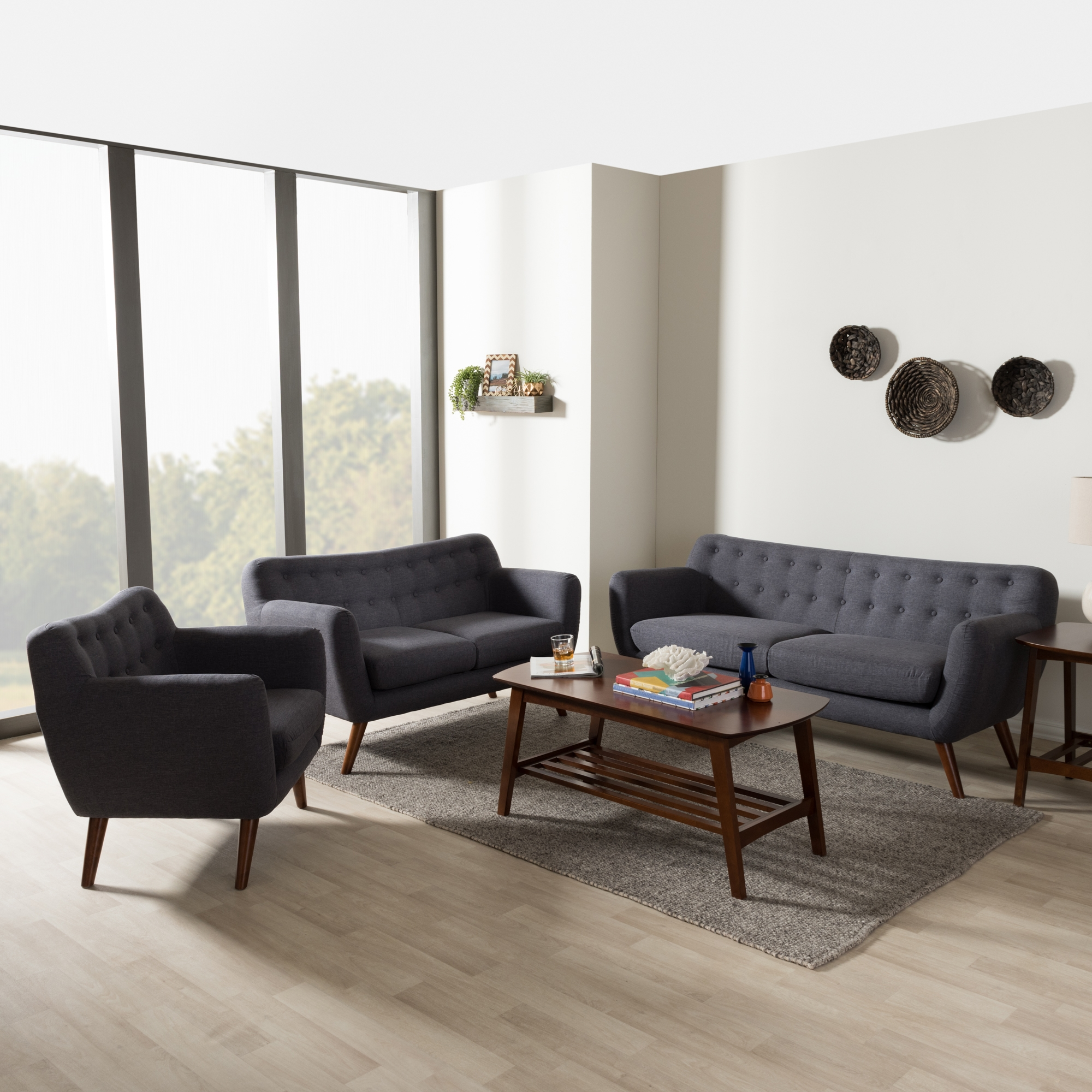 Baxton Studio Harper Mid Century Modern Dark Grey Fabric Upholstered Walnut  Wood Button Tufted 3 Piece Sofa Set