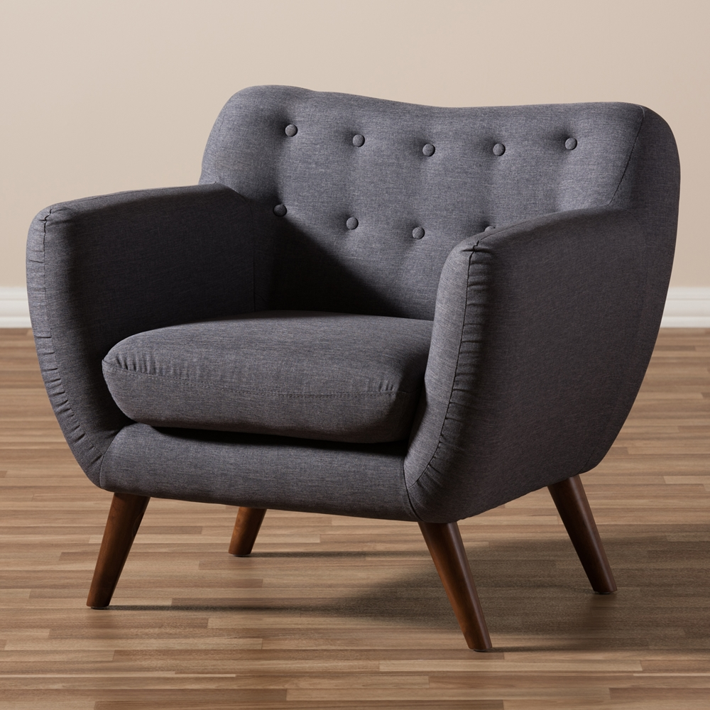 Modern Arm Chair baxton studio harper mid-century modern dark grey fabric