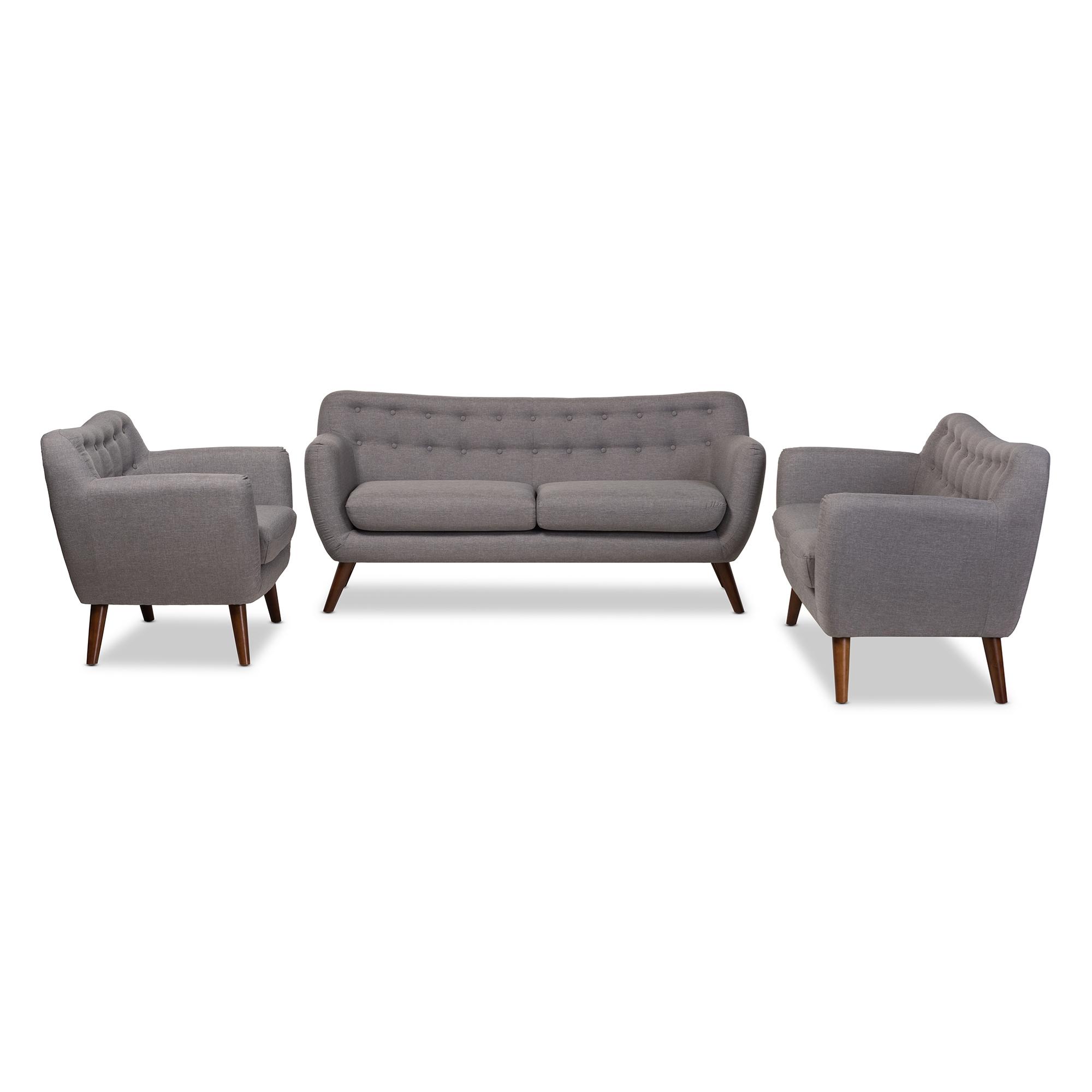 Baxton Studio Harper Mid Century Modern Light Grey Fabric Upholstered  Walnut Wood Button Tufted 3 Piece Sofa Set