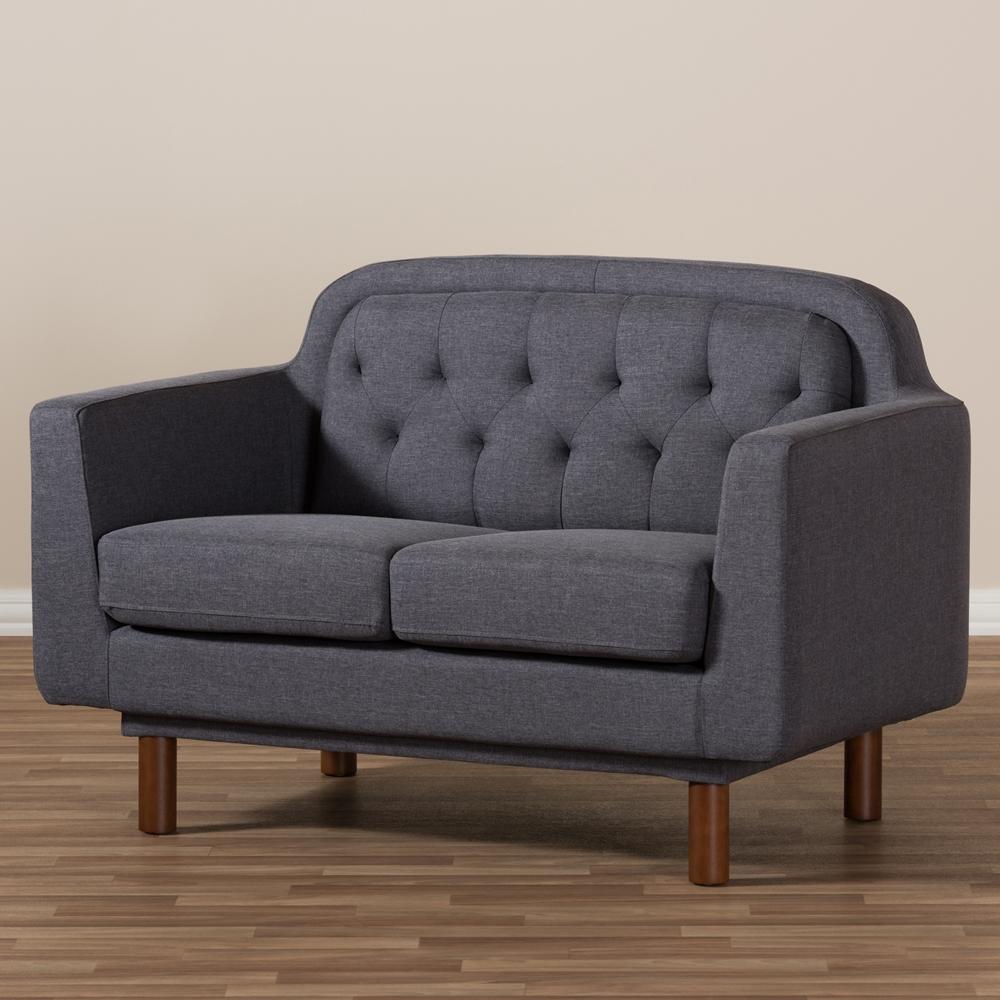Baxton Studio Virginia Mid Century Modern Dark Grey Fabric Upholstered Walnut Wood Button Tufted