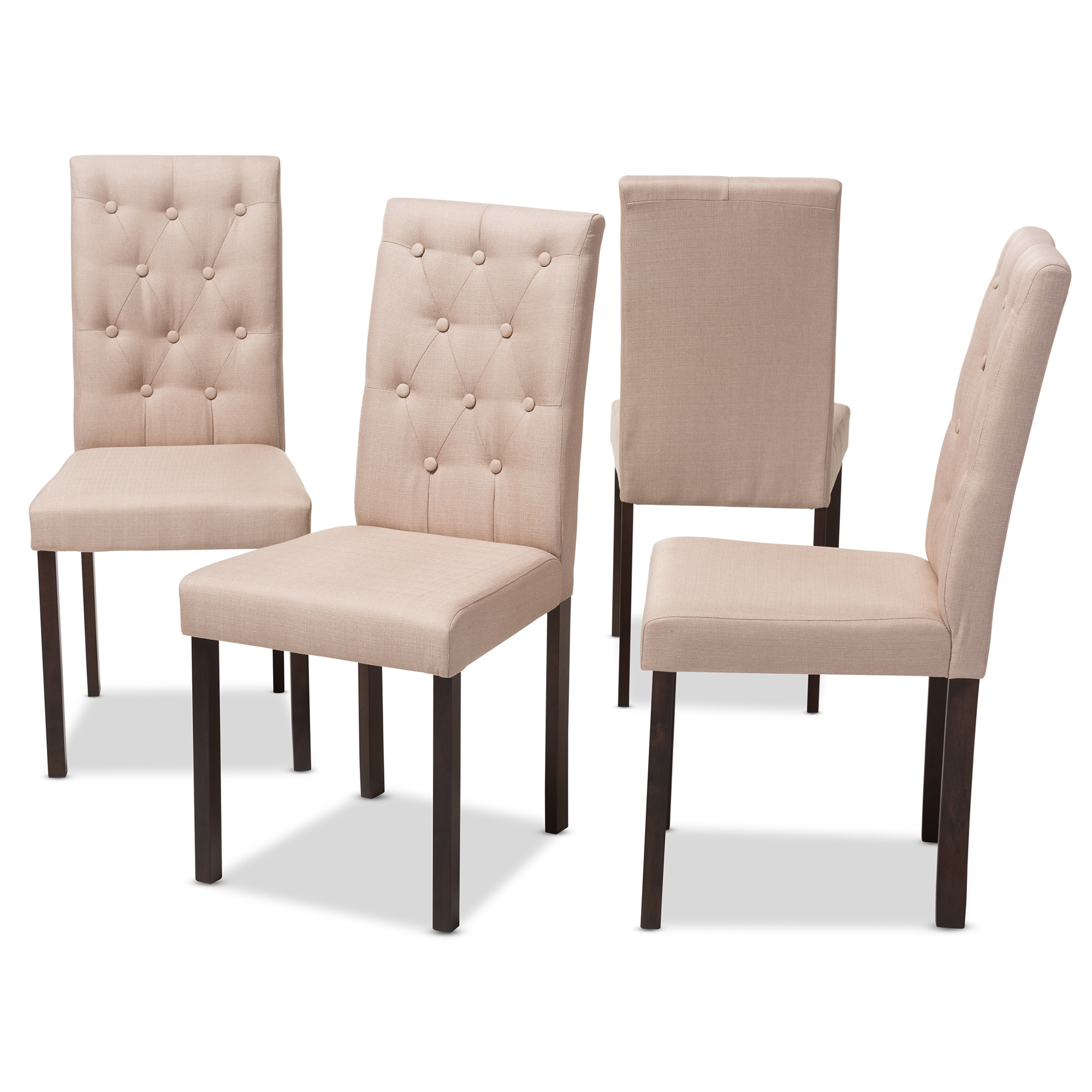 ... Baxton Studio Gardner Modern And Contemporary 5 Piece Dark Brown  Finished Beige Fabric Upholstered Dining ...