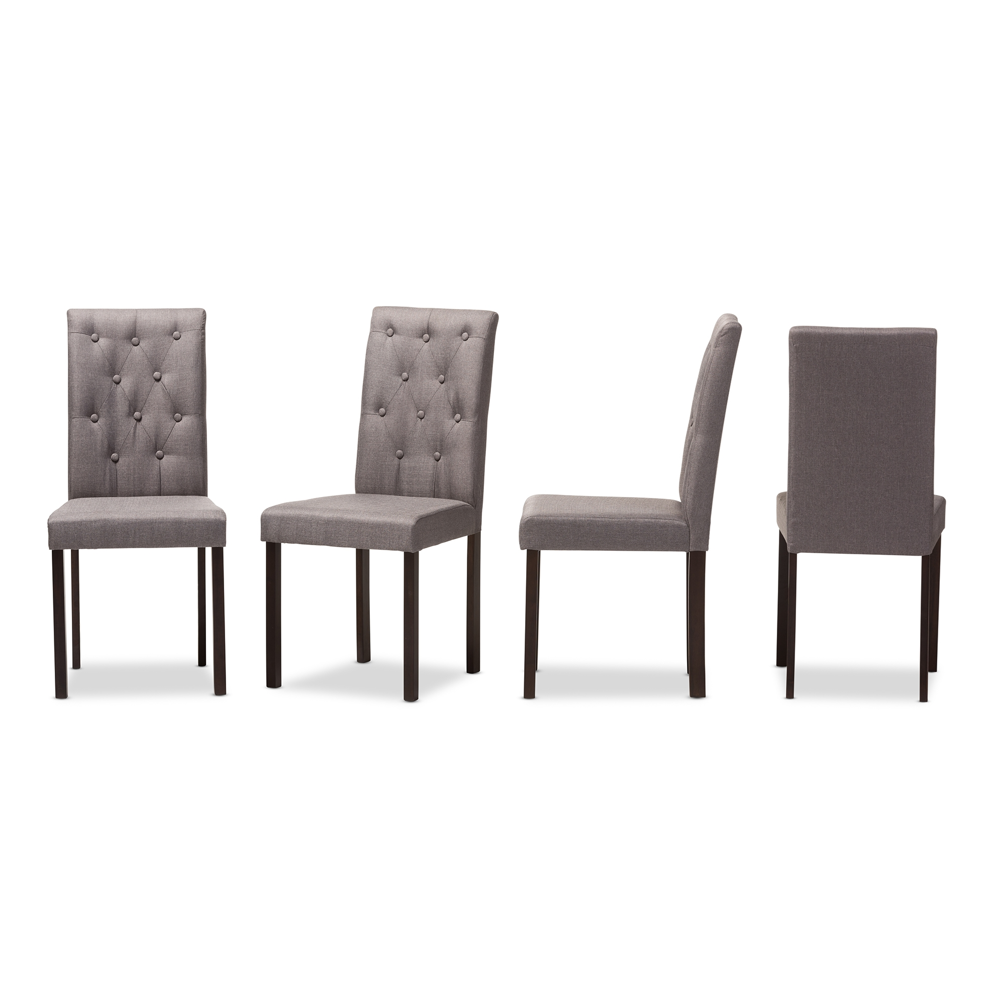 baxton studio gardner modern and dark brown finished grey fabric upholstered dining chair set - White Wood Dining Chairs