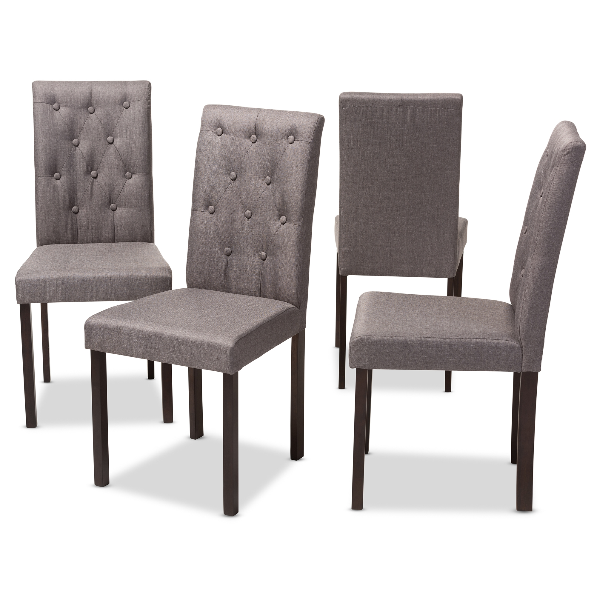... Baxton Studio Gardner Modern And Contemporary 5 Piece Dark Brown  Finished Grey Fabric Upholstered Dining ...