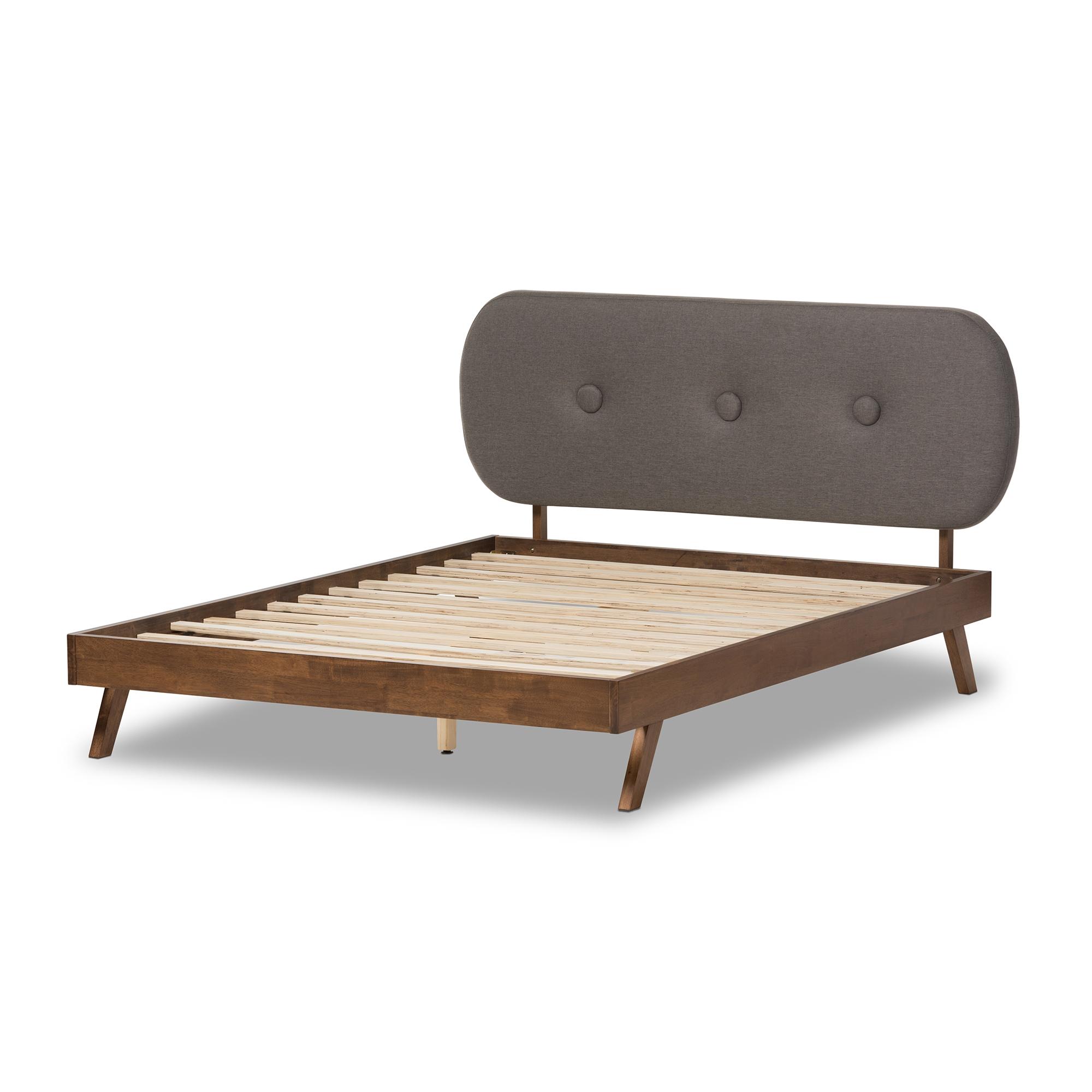 baxton studio penelope midcentury modern solid walnut wood grey fabric upholstered full size platform