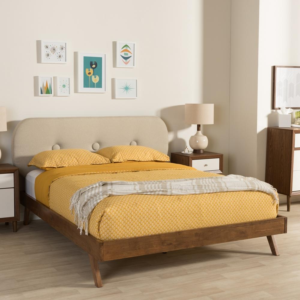Light Walnut Bedroom Furniture Baxton Studio Penelope Mid Century Modern Solid Walnut Wood Light