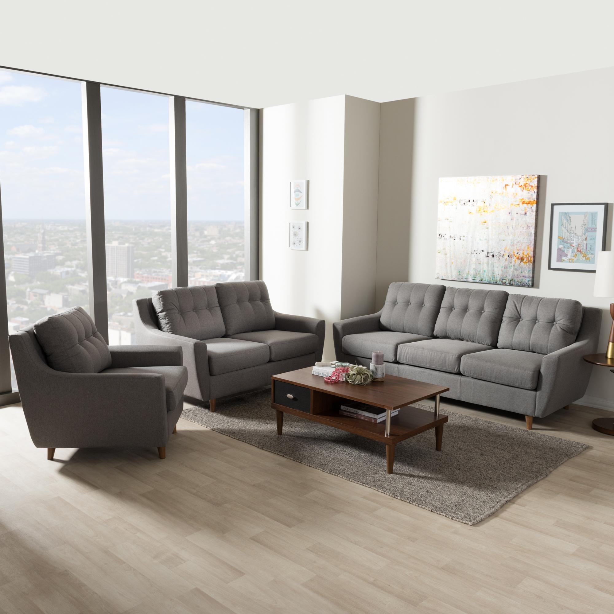 ... Baxton Studio Mckenzie Mid Century Modern Grey Fabric Upholstered  Tufted 3 Piece Livingroom Set ...