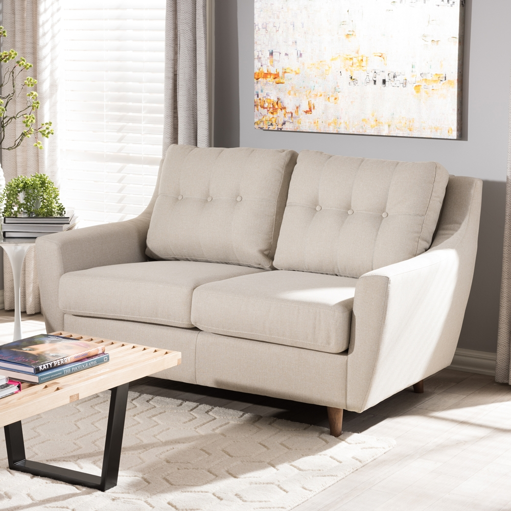 modern 2 tone small space linen fabric loveseat beige