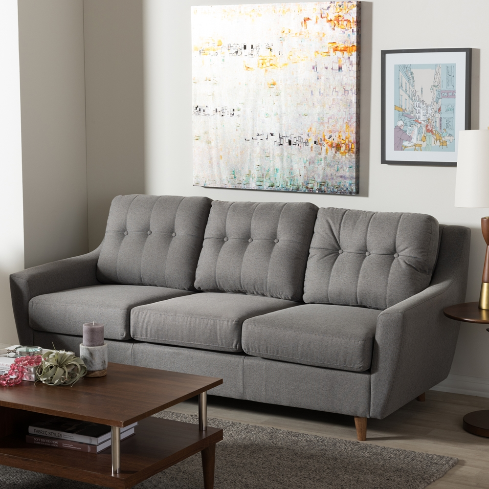 Mckenzie Bedroom Furniture Baxton Studio Mckenzie Mid Century Modern Grey Fabric Upholstered