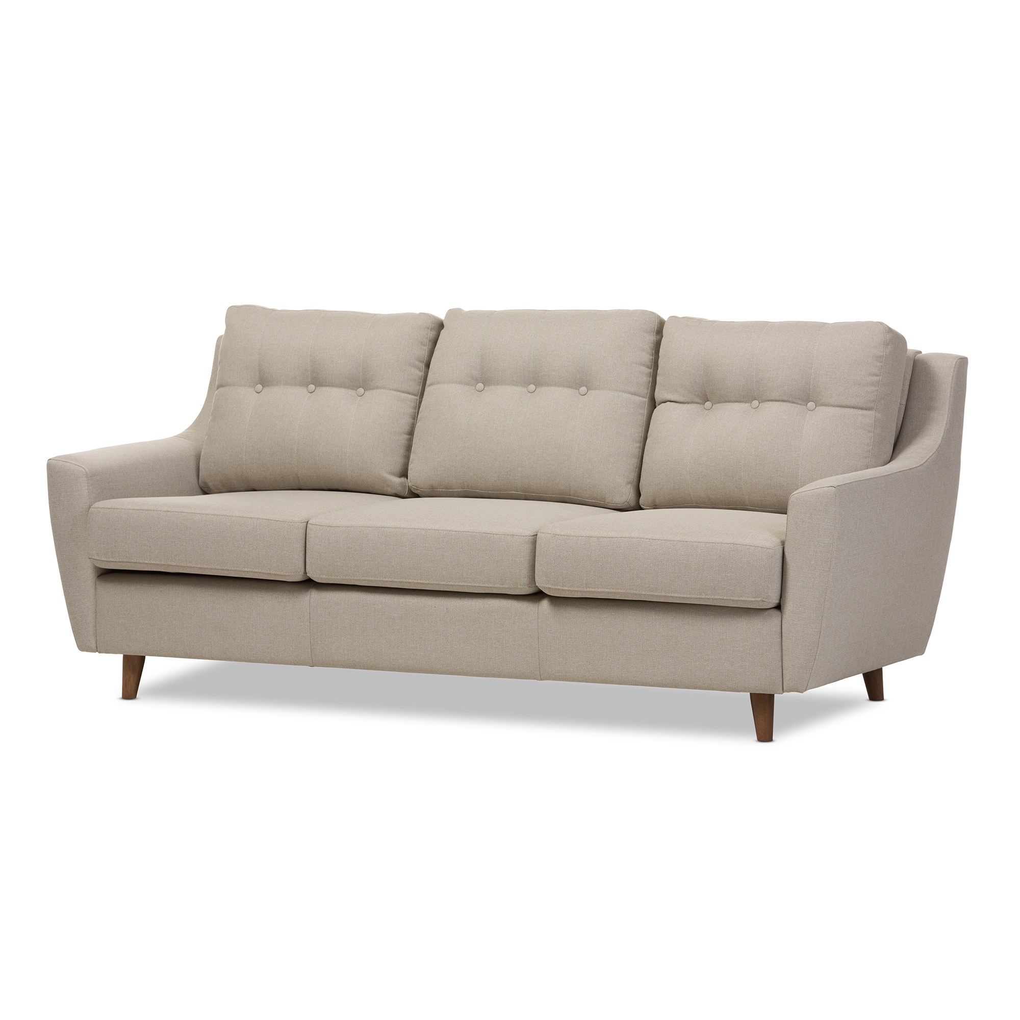 Baxton Studio Mckenzie Mid Century Modern Light Beige Fabric Upholstered  Tufted 3 Seater Sofa