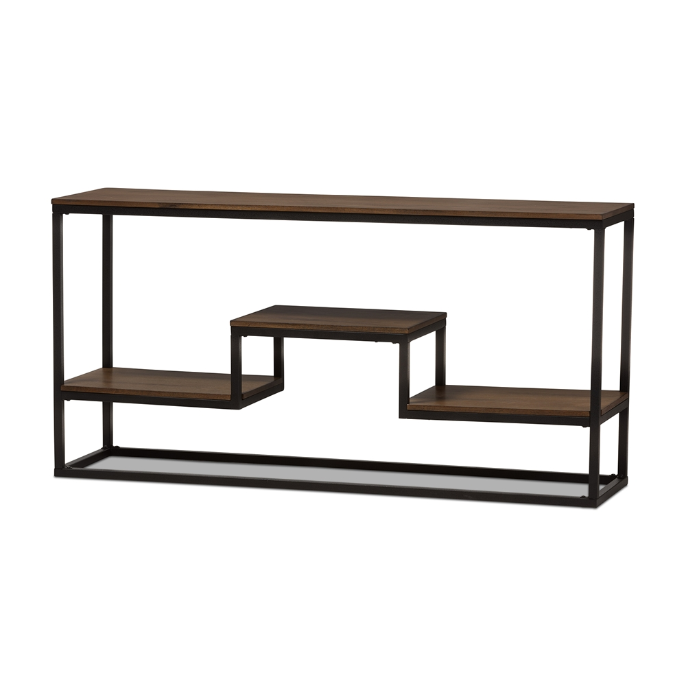 Baxton Studio Doreen Rustic Industrial Style Antique Black Textured  Finished Metal Distressed Wood Console Table. Baxton Studio Doreen Rustic Industrial Style Antique Black