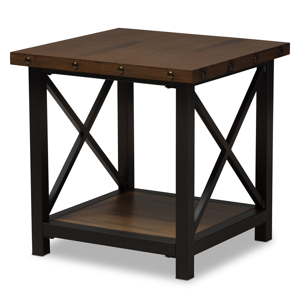 End tables living room furniture affordable modern furniture baxton studio herzen rustic industrial style antique black textured finished metal distressed wood occasional end table geotapseo Gallery