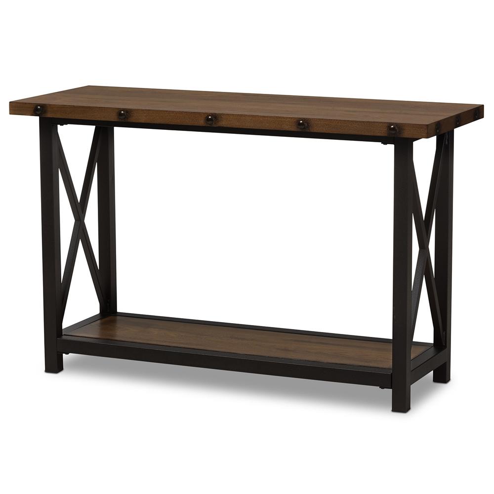 Baxton studio herzen rustic industrial style antique black for Sofa table metal