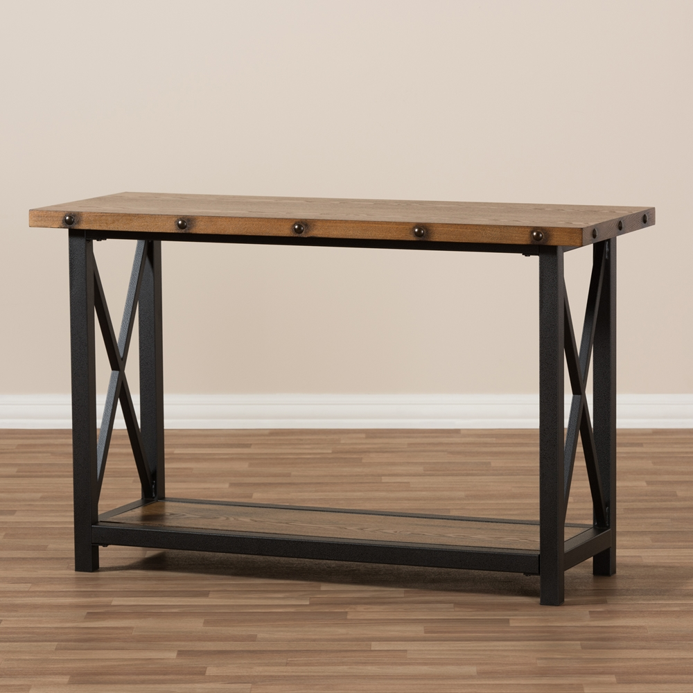 Antique sofa table -  Baxton Studio Herzen Rustic Industrial Style Antique Black Textured Finished Metal Distressed Wood Occasional Console Table