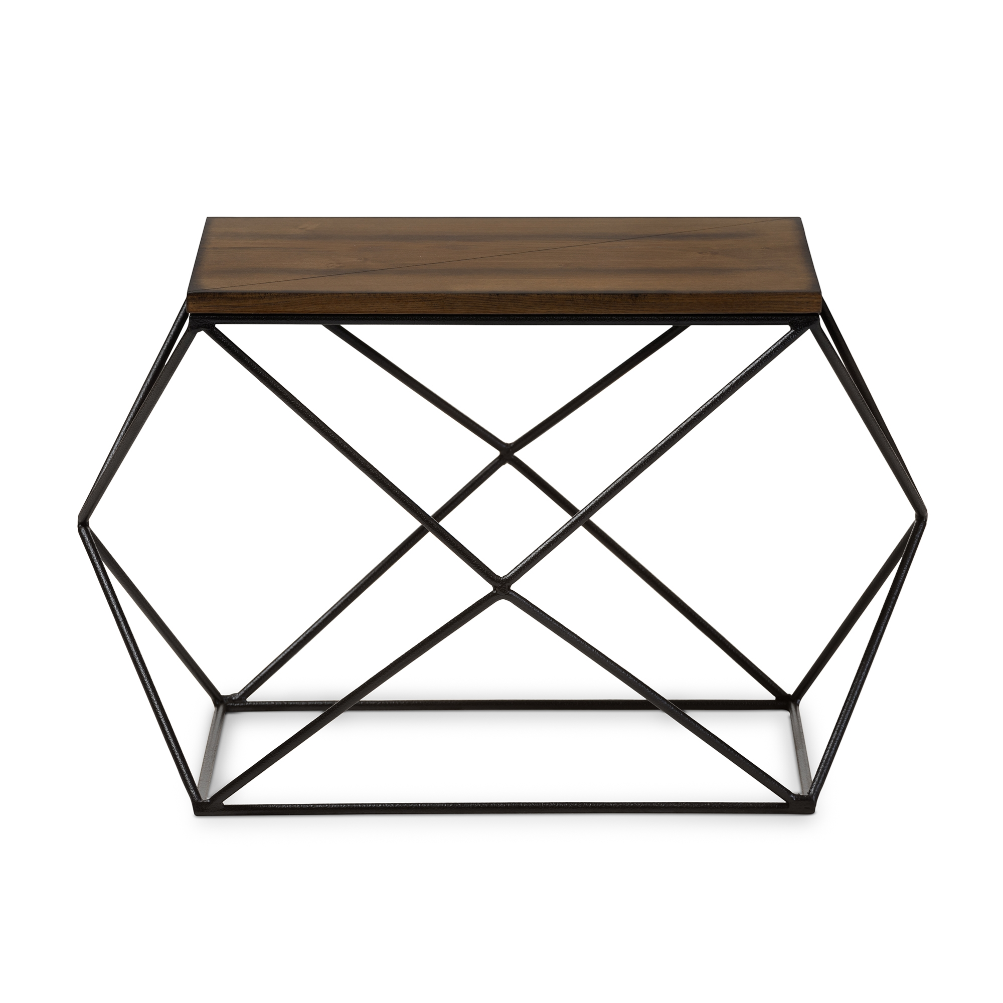 ... Baxton Studio Stilo Rustic Industrial Style Antique Black Textured  Finished Metal Distressed Wood Occasional End Table ...