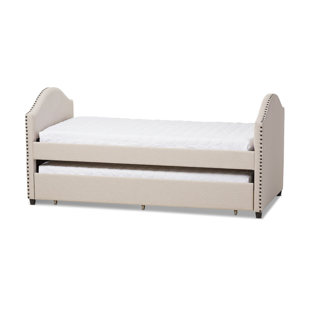 Design Modern Trundle Beds baxton studio alessia modern and contemporary beige fabric upholstered daybed with guest trundle bed