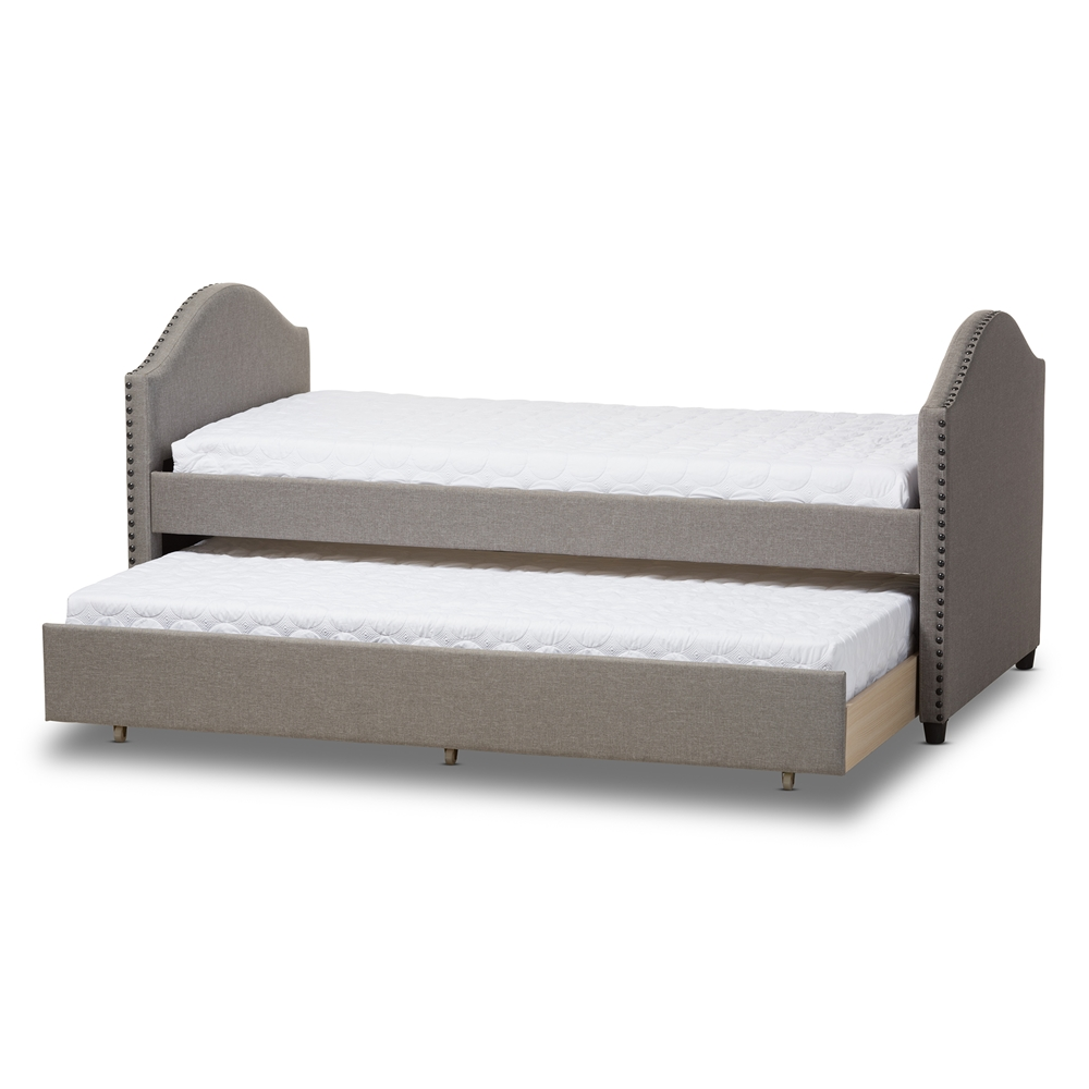 Design Modern Trundle Beds baxton studio alessia modern and contemporary grey fabric upholstered daybed with guest trundle bed bsocf8751