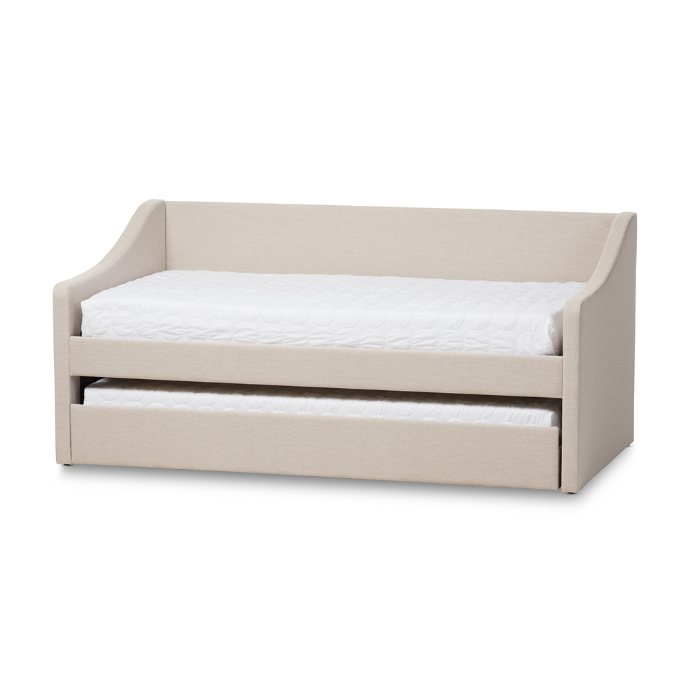 baxton studio barnstorm modern and contemporary beige fabric upholstereddaybed with guest trundle bed. baxton studio barnstorm modern and contemporary beige fabric