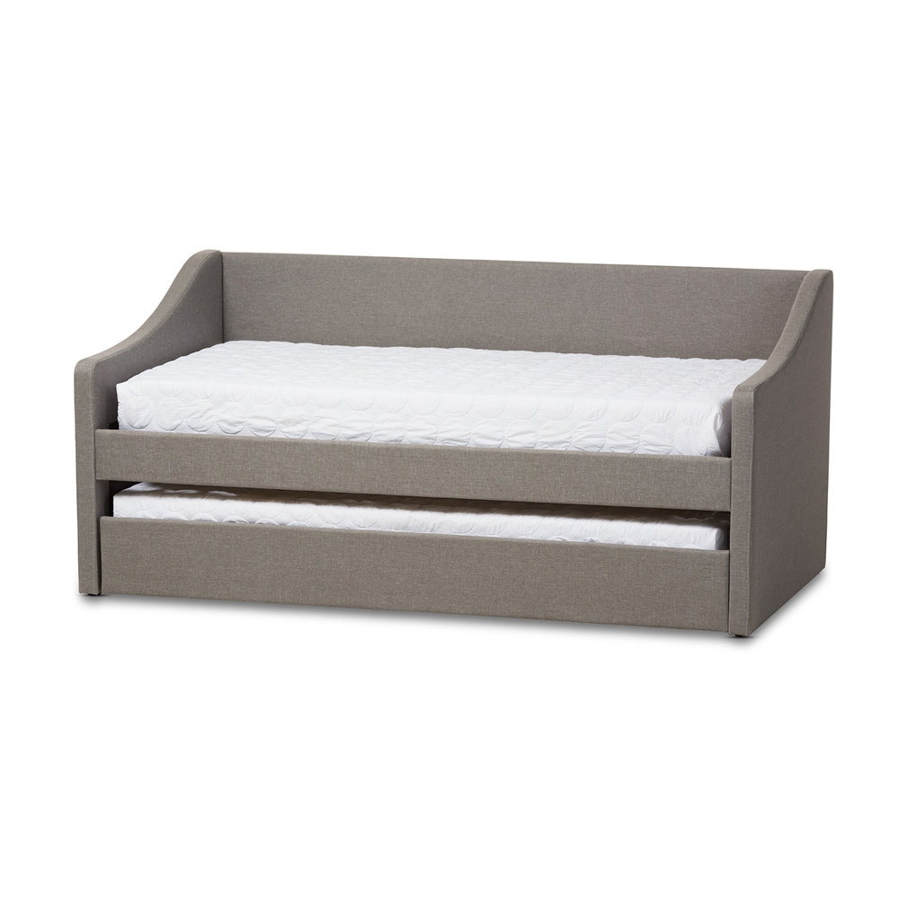 baxton studio barnstorm modern and contemporary grey fabric upholstereddaybed with guest trundle bed. baxton studio barnstorm modern and contemporary grey fabric