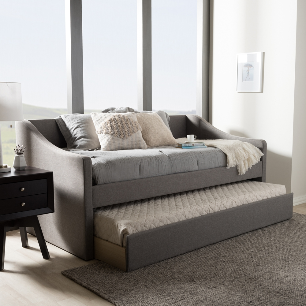 Baxton Studio Barnstorm Modern And Contemporary Grey Fabric Upholstered Daybed With Guest