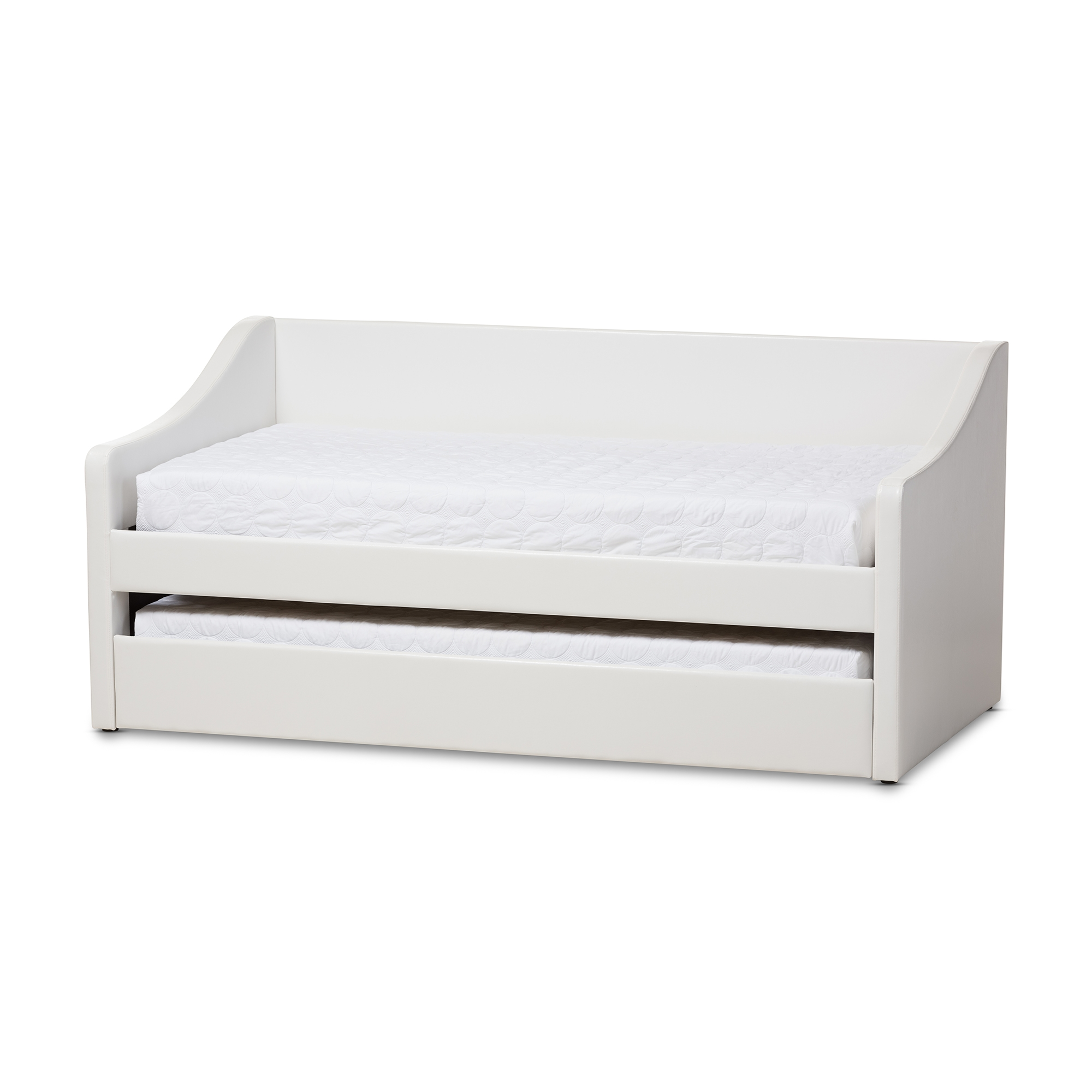 Baxton Studio Barnstorm Modern And Contemporary White Faux Leather  Upholstered Daybed With Guest Trundle Bed Affordable