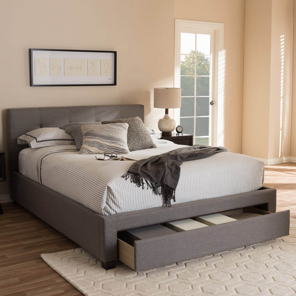 Baxton studio brandy modern and contemporary grey fabric - Modern queen bed with storage ...