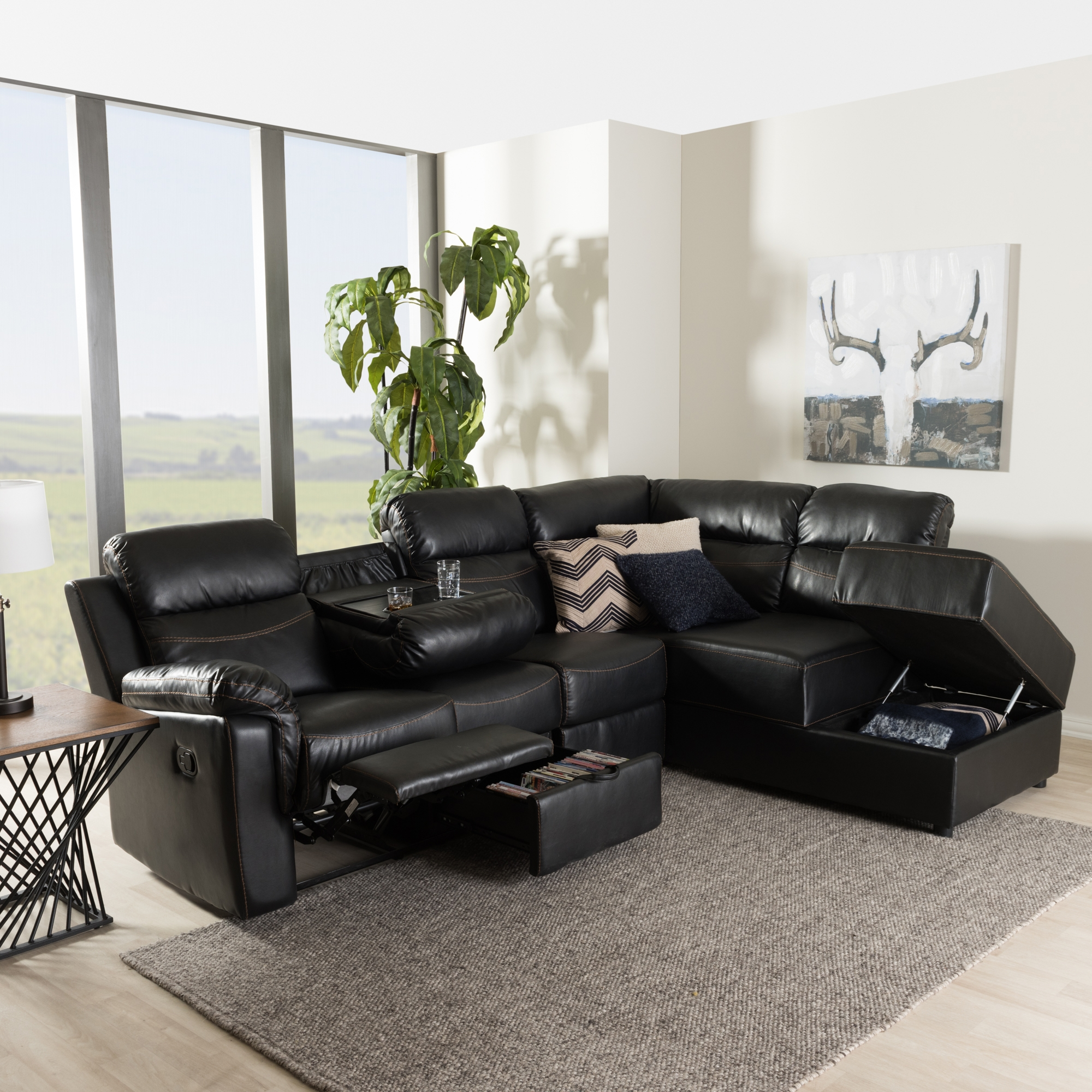 ... Baxton Studio Roland Modern and Contemporary Black Faux Leather 2-Piece Sectional with Recliner and ... & Baxton Studio Roland Modern and Contemporary Black Faux Leather 2 ... islam-shia.org