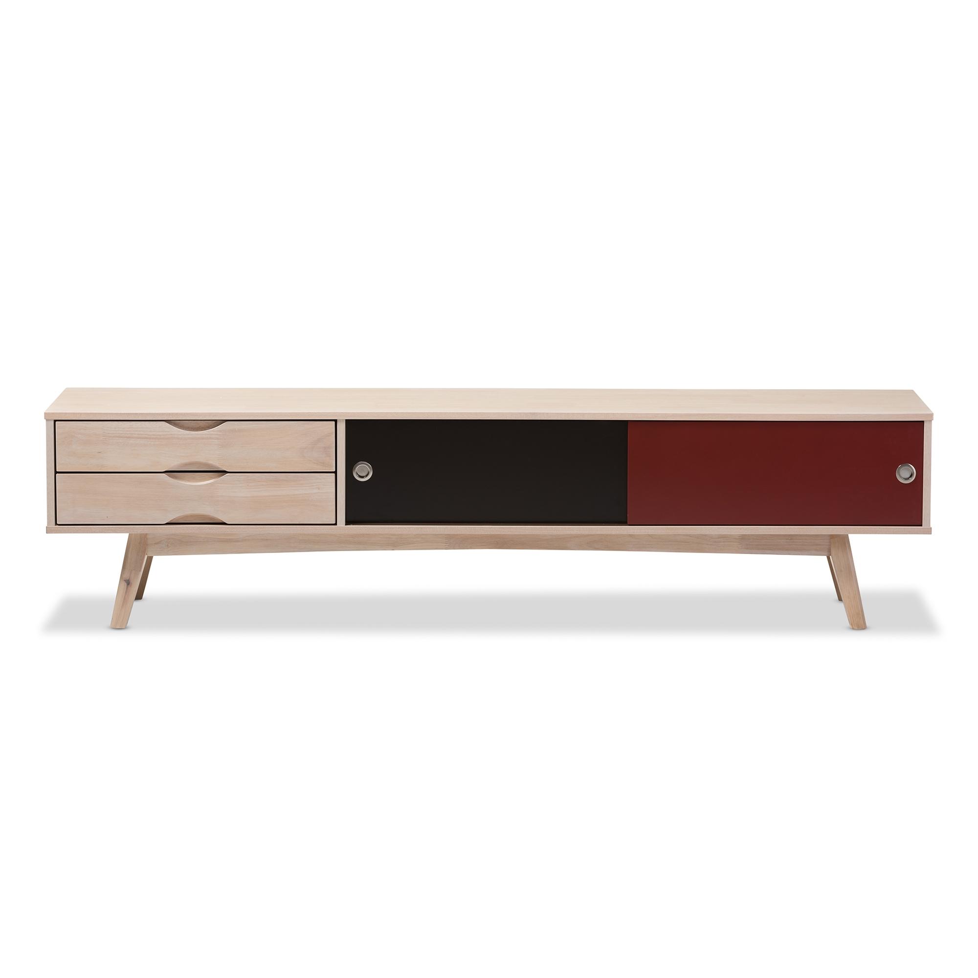 Baxton studio foxhill mid century modern scandinavian inspired multi colored solid rubberwood tv stand