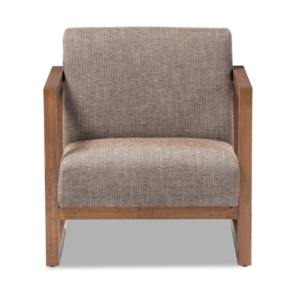 Armchair Upholstery Baxton Studio Valencia Mid Century Modern Walnut Wood Finished