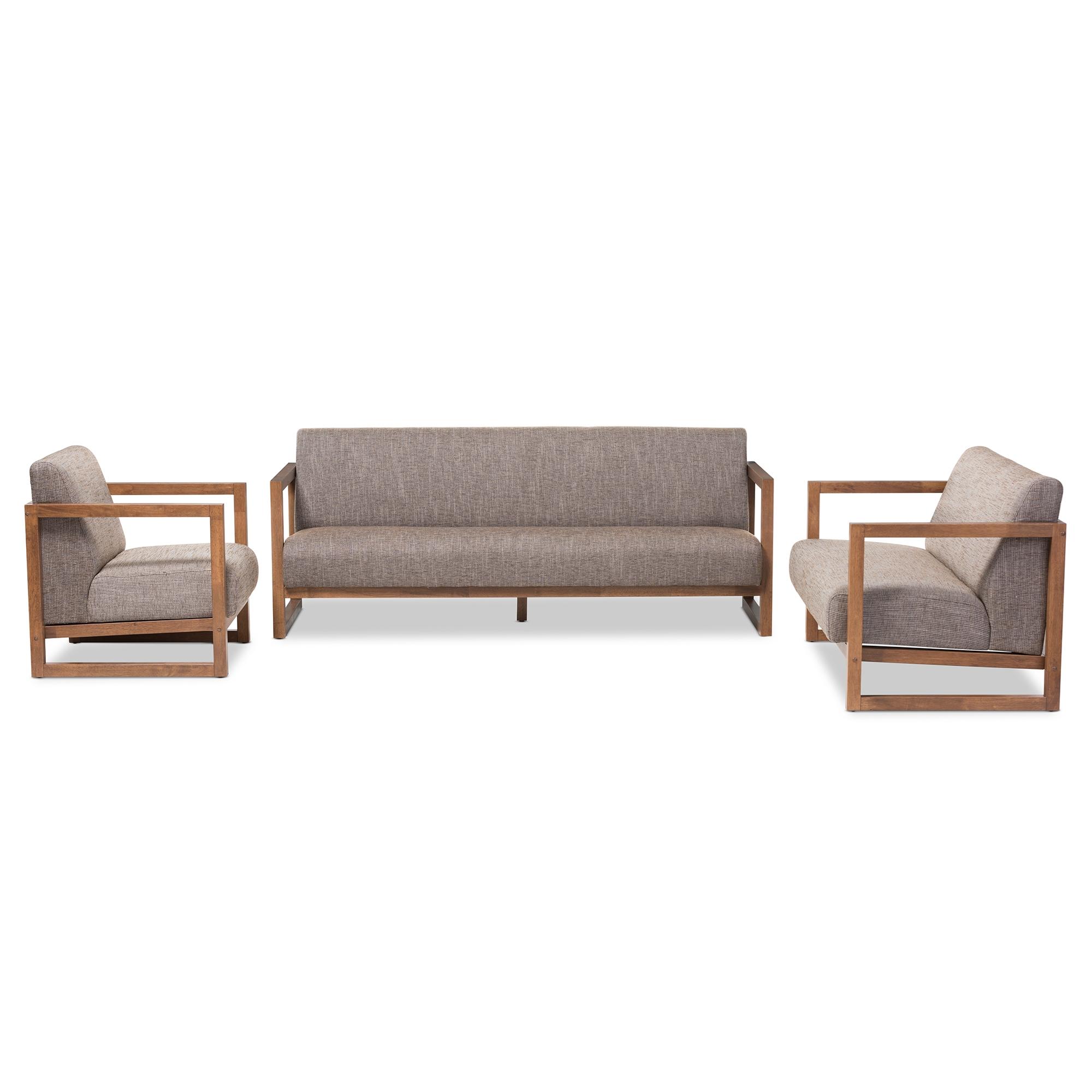 baxton studio valencia midcentury modern walnut wood finished gravel fabric upholstered 3piece living room set