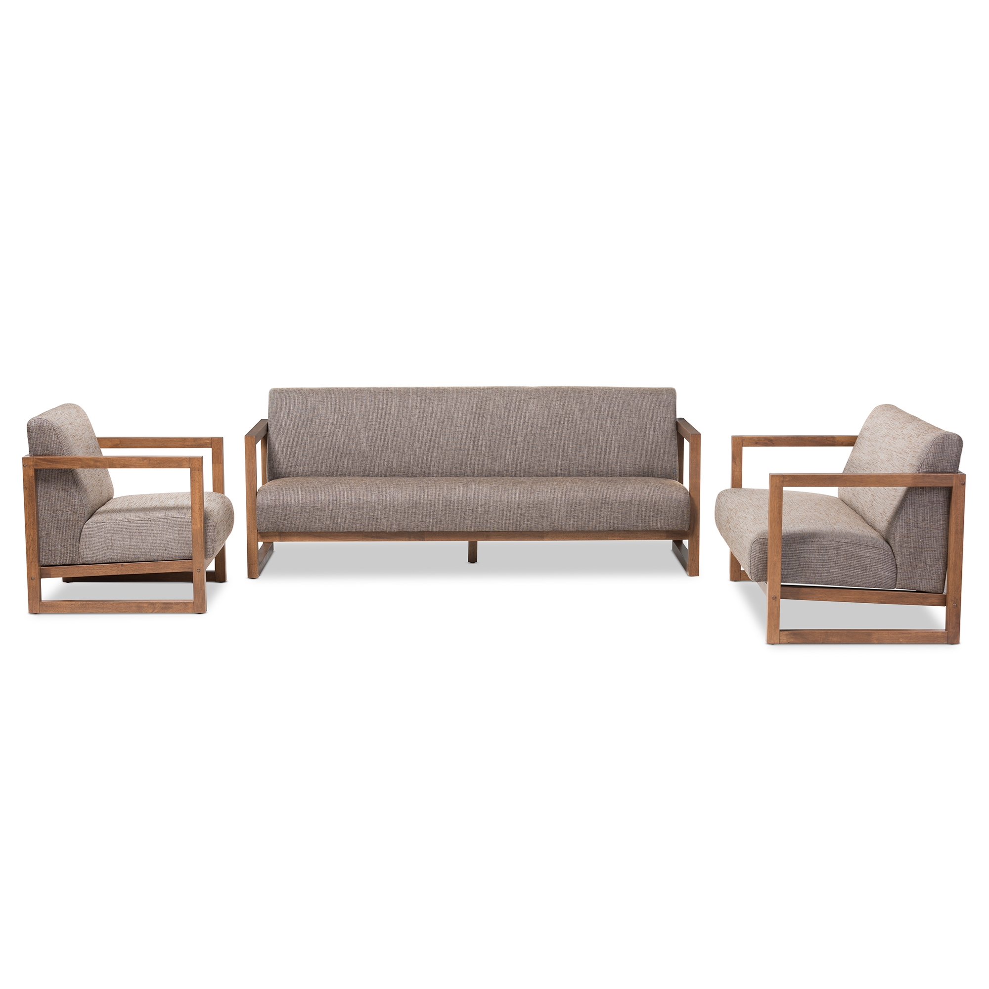Baxton Studio Valencia Mid Century Modern Walnut Wood Finished Gravel  Fabric Upholstered 3 Piece