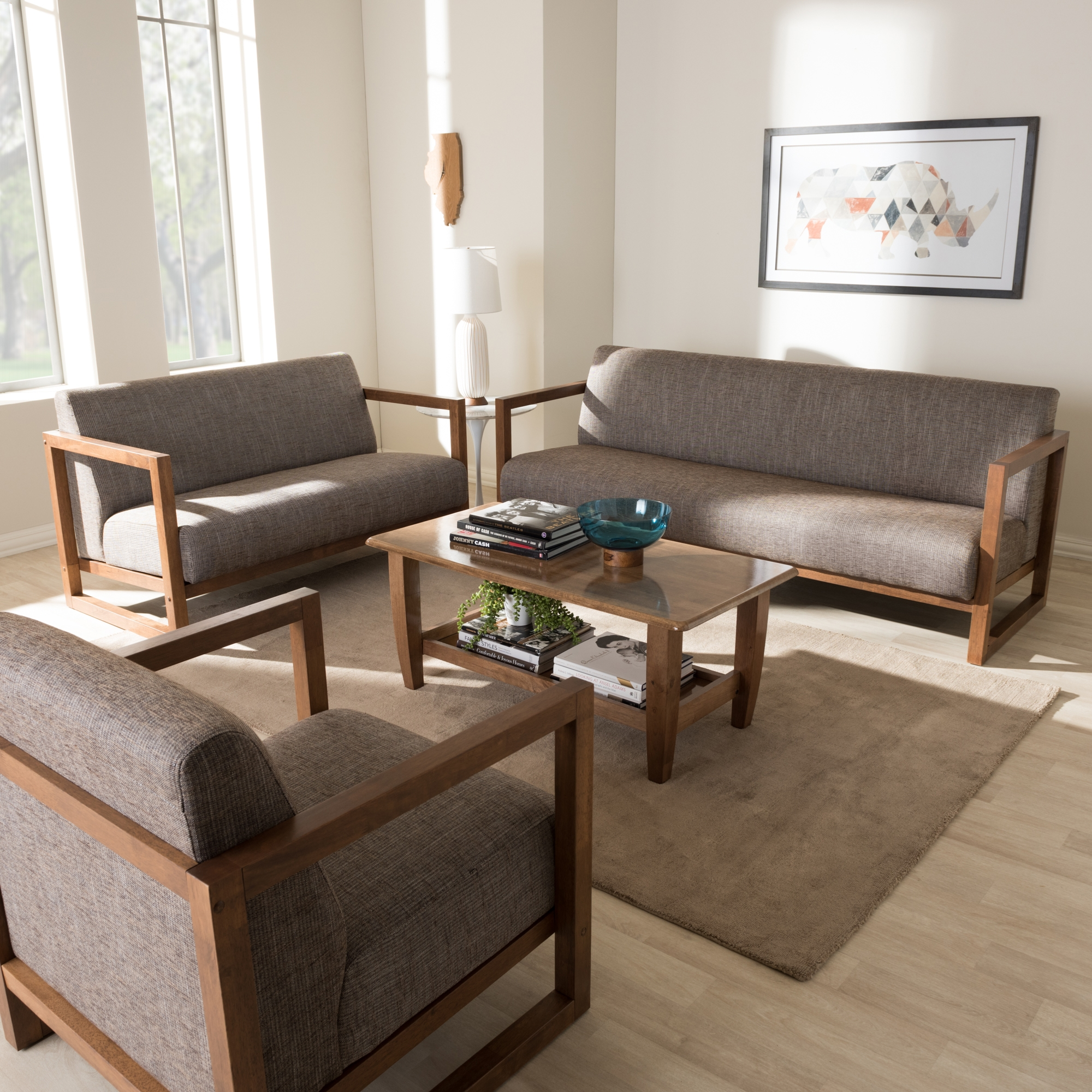 ... Baxton Studio Valencia Mid Century Modern Walnut Wood Finished Gravel  Fabric Upholstered 3 Piece ...