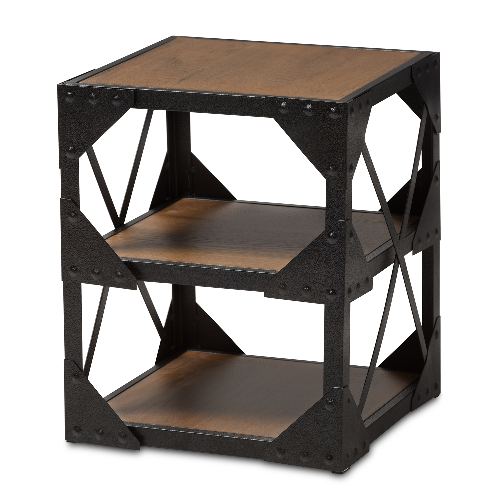 Baxton Studio Hudson Rustic Industrial Style Antique Black Textured  Finished Metal Distressed Wood Occasional Side Table
