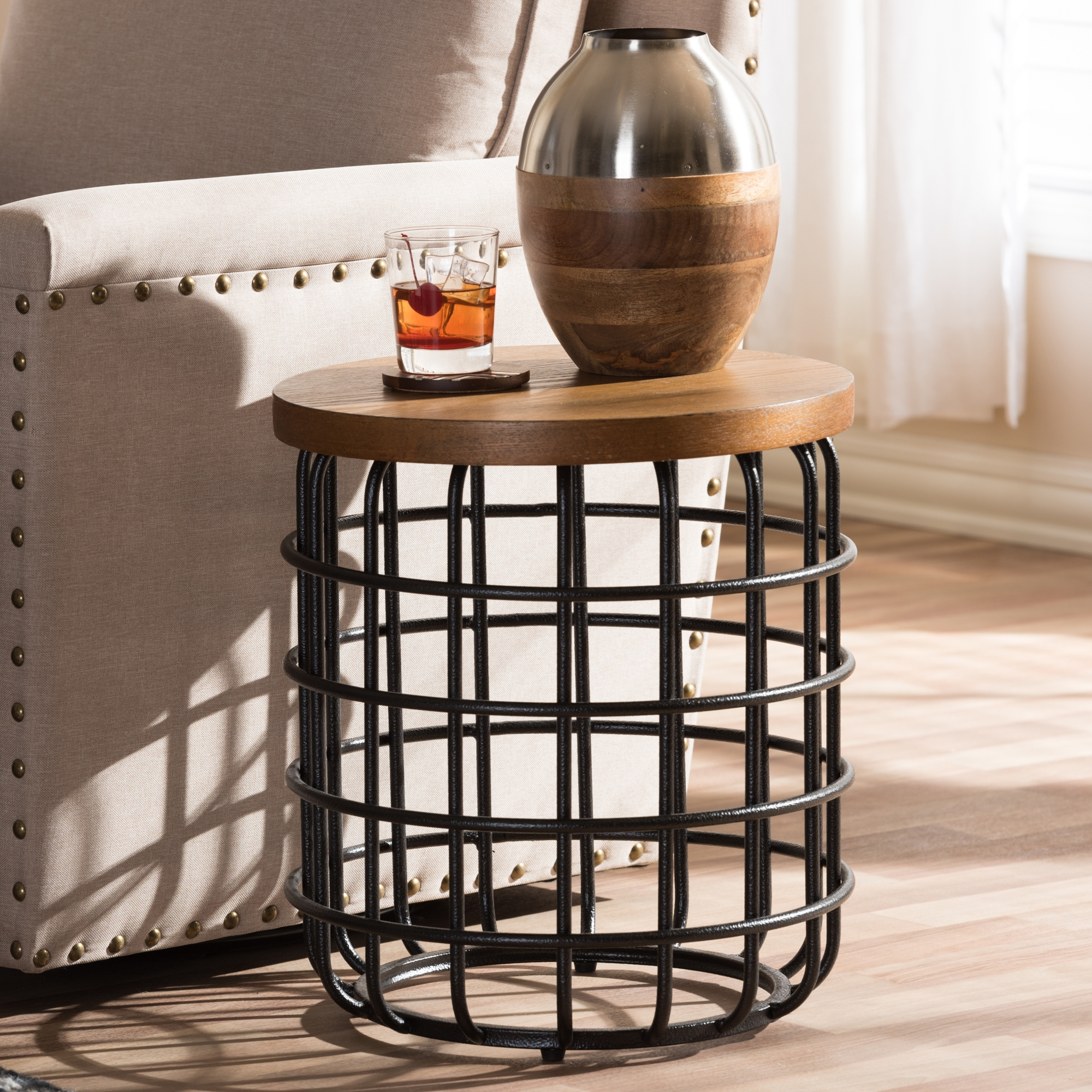 ... Baxton Studio Carie Rustic Industrial Style Antique Black Textured  Finished Metal Distressed Wood Accent Table ...