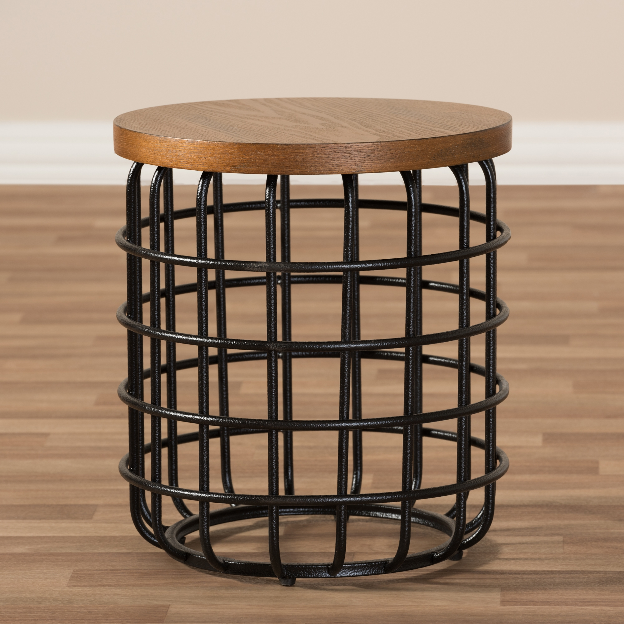 ... Baxton Studio Carie Rustic Industrial Style Antique Black Textured  Finished Metal Distressed Wood Accent Table