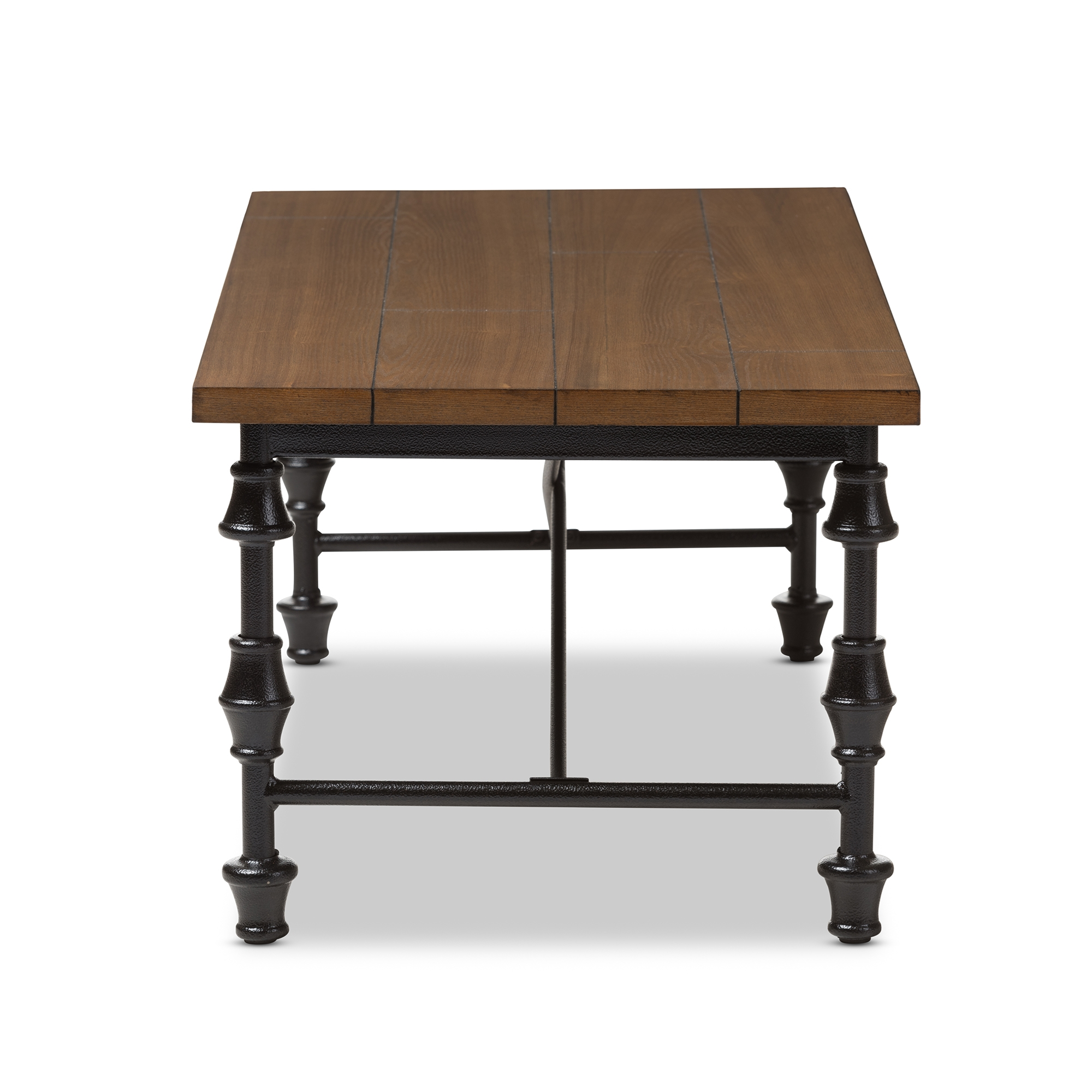 ... Baxton Studio Julian Rustic Industrial Style Antique Black Textured  Finished Metal Distressed Wood Occasional Coffee Table ...