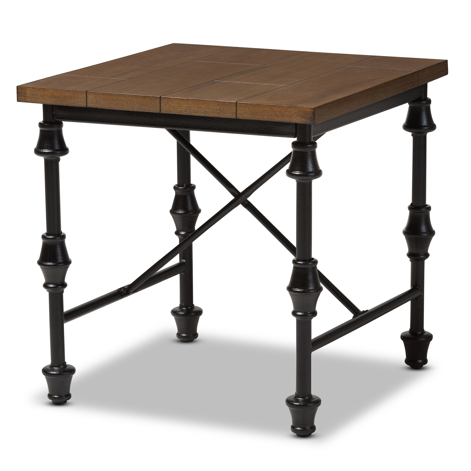baxton studio julian rustic industrial style antique black textured finished metal distressed wood occasional side table