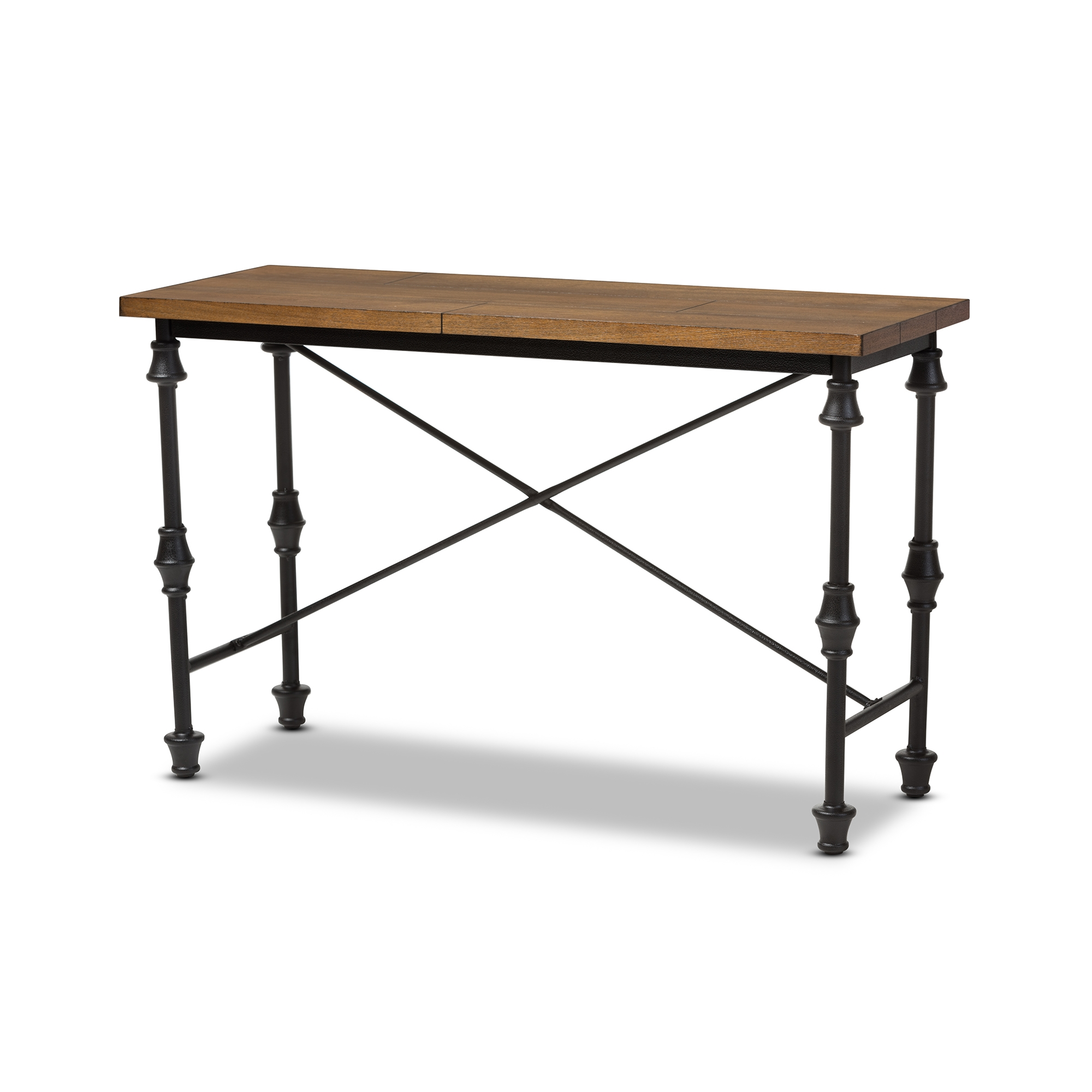 baxton studio julian rustic industrial style antique black textured finished metal distressed wood occasional console table - Cheap Console Tables