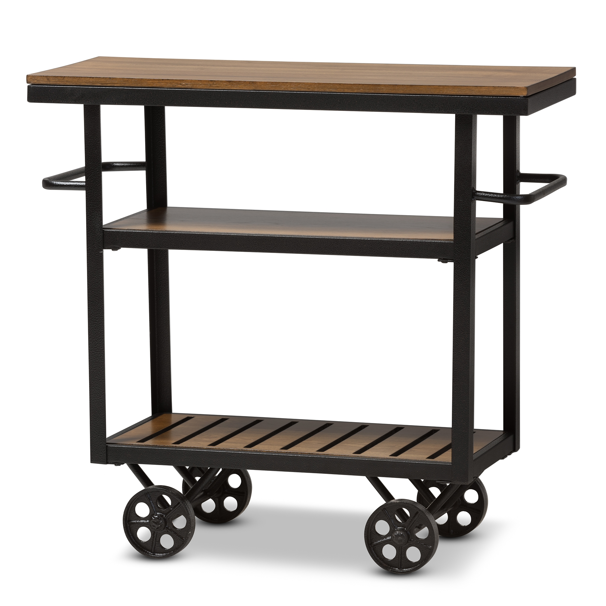 Wood And Metal Industrial Kitchen Cart: Baxton Studio Kennedy Rustic Industrial Style Antique