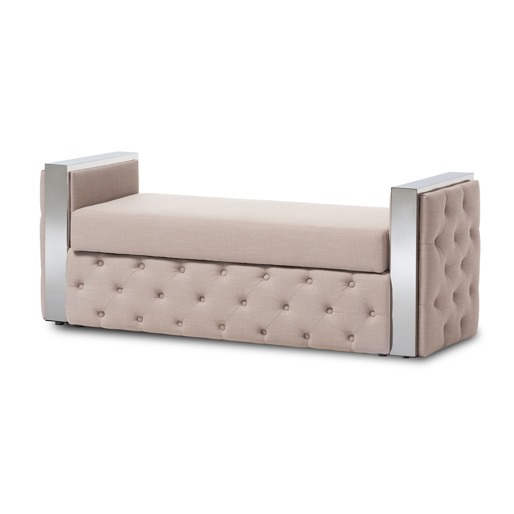 Modern Furniture Bench baxton studio fiona modern and contemporary stainless steel beige