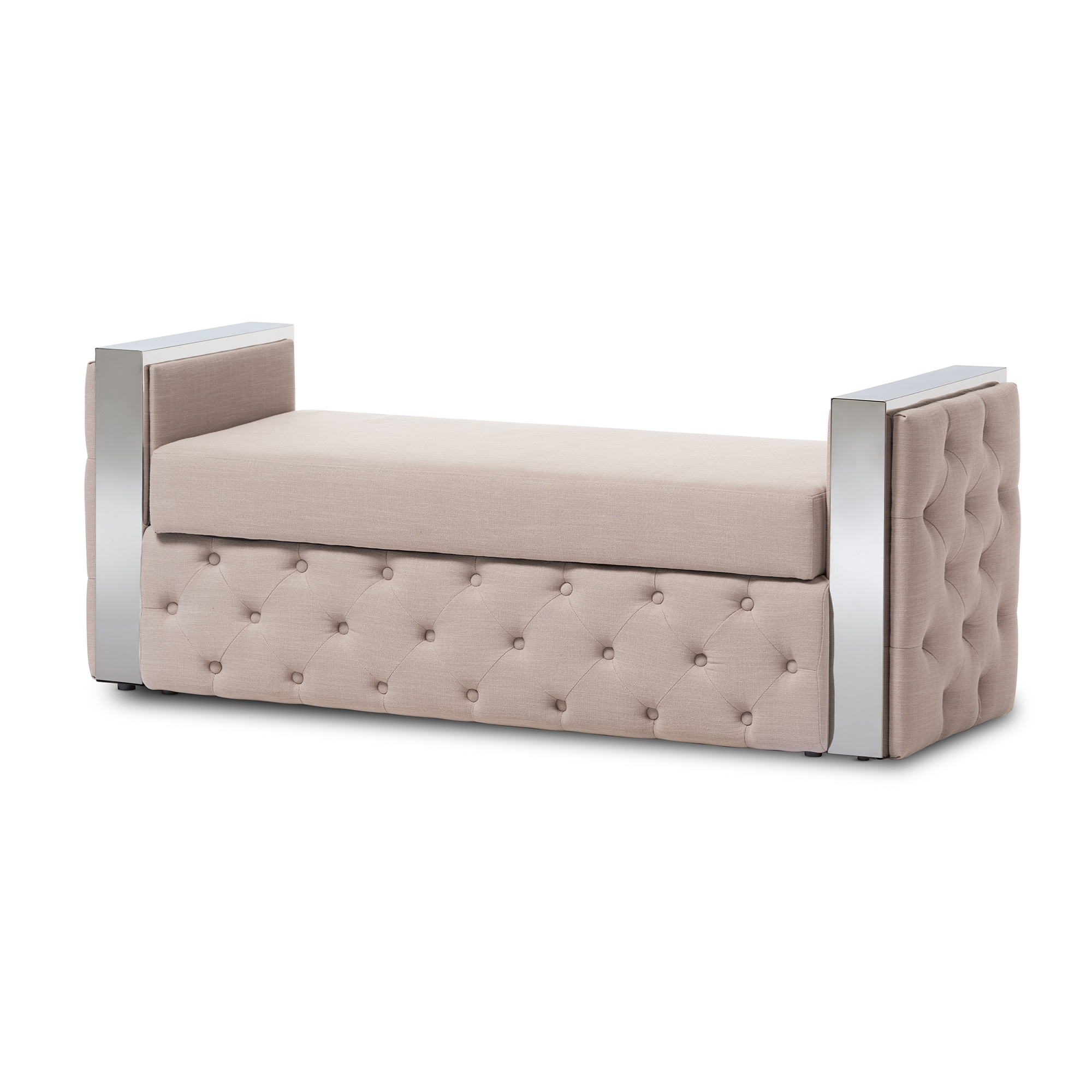 Baxton Studio Fiona Modern And Contemporary Stainless Steel Beige Linen  Fabric Button Tufted Storage Bed End Bench