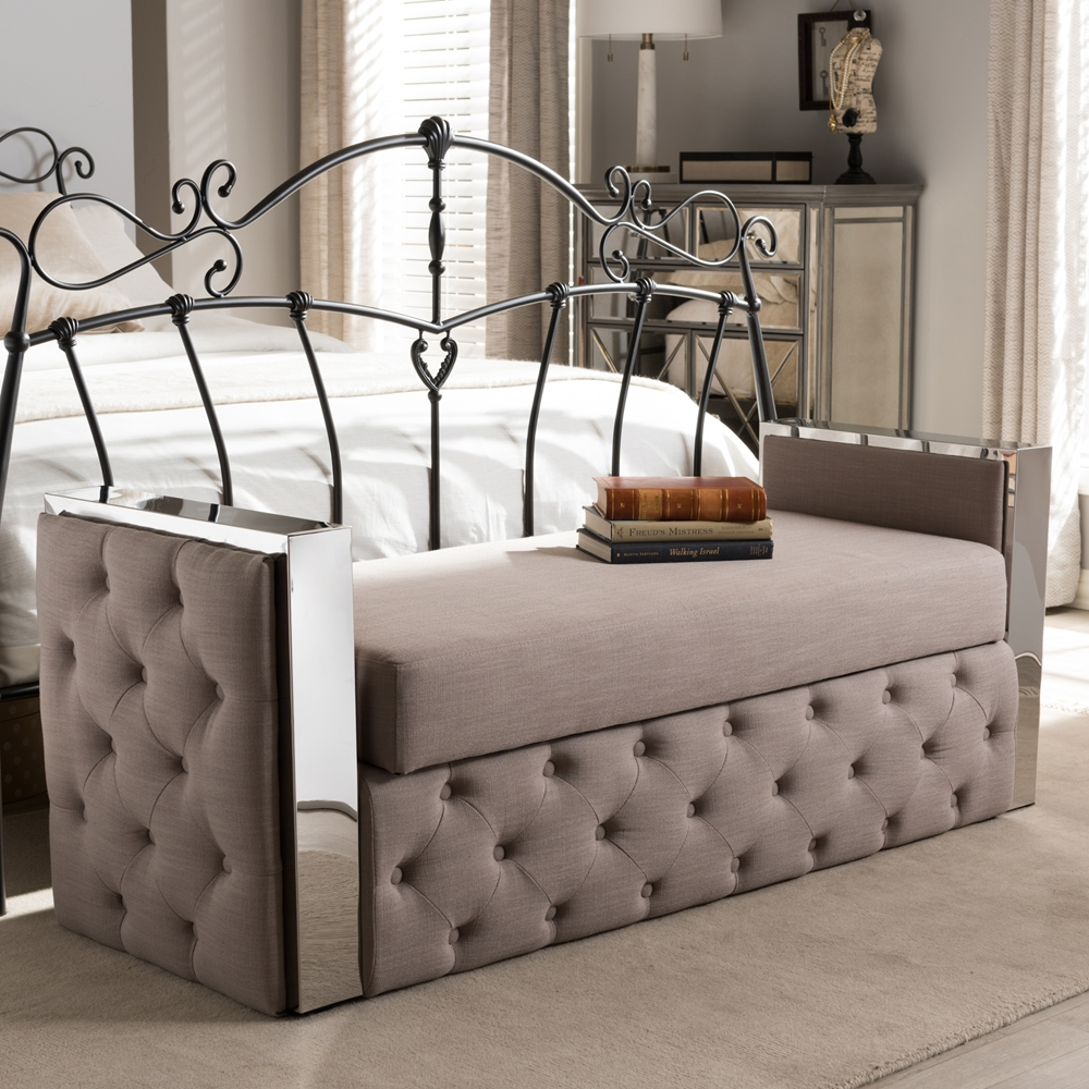Metal Bedroom Bench Baxton Studio Fiona Modern And Contemporary Stainless Steel Beige