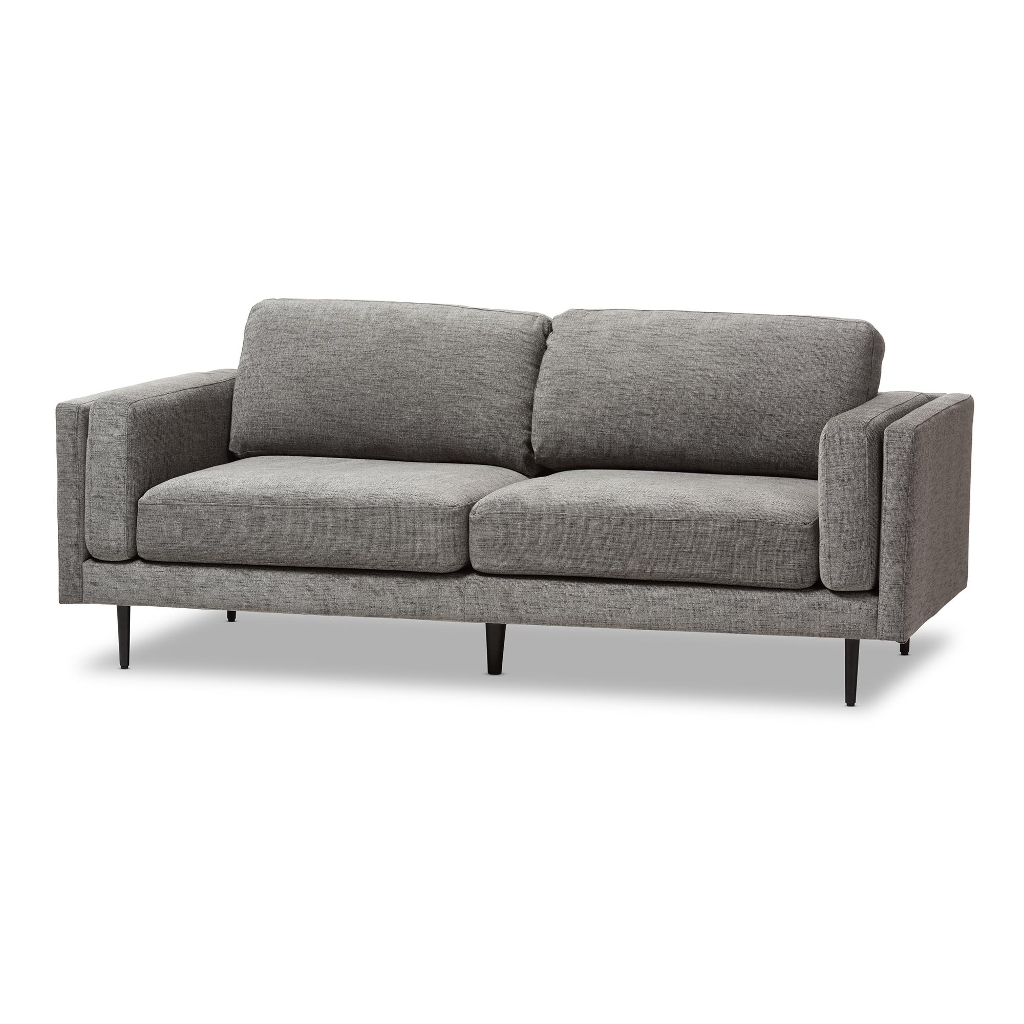 Baxton Studio Brittany Retro Mid Century Modern Grey Fabric Upholstered  3 Seater Loveseat ...