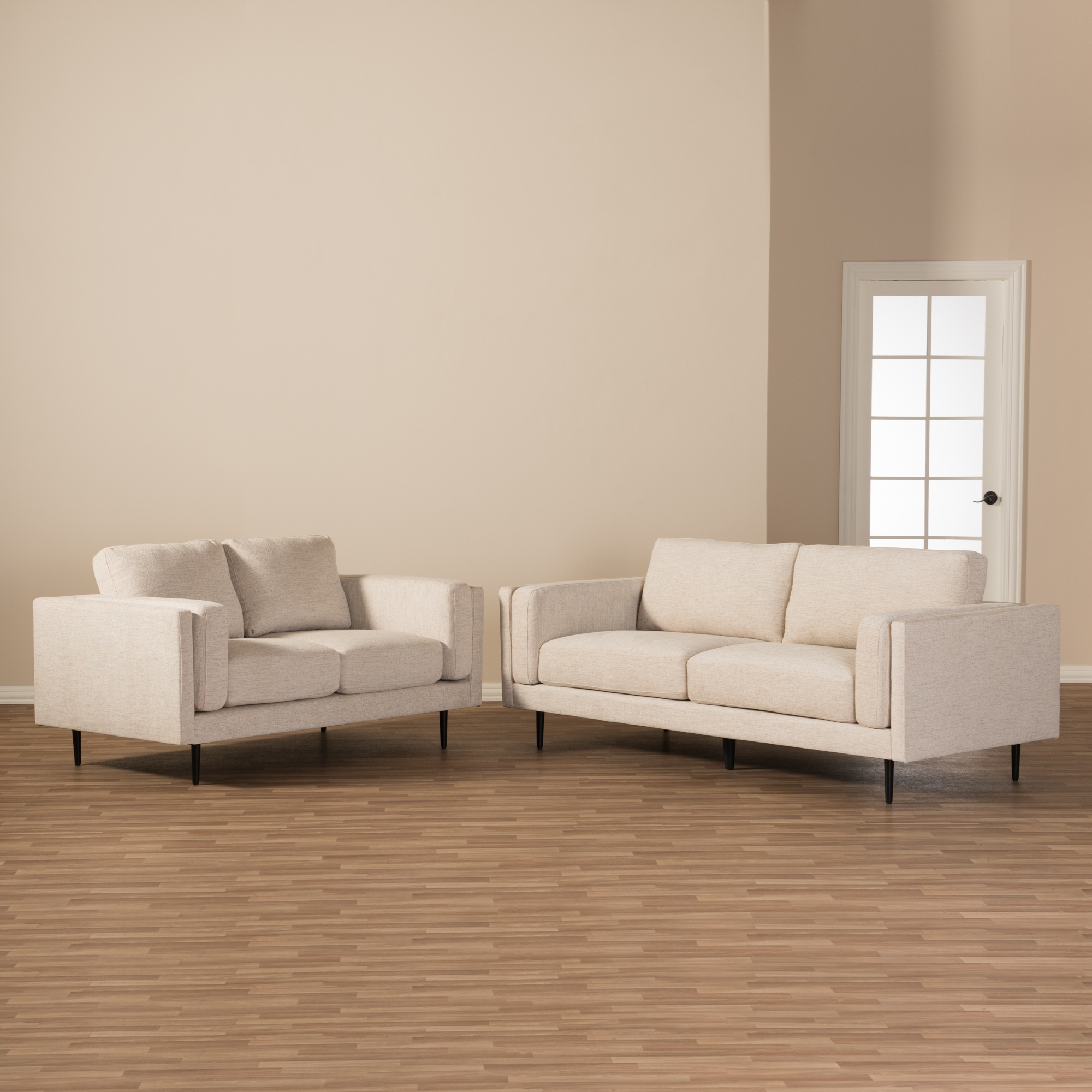 ... Baxton Studio Brittany Retro Mid Century Modern Light Beige Fabric  Upholstered 2 Piece Living