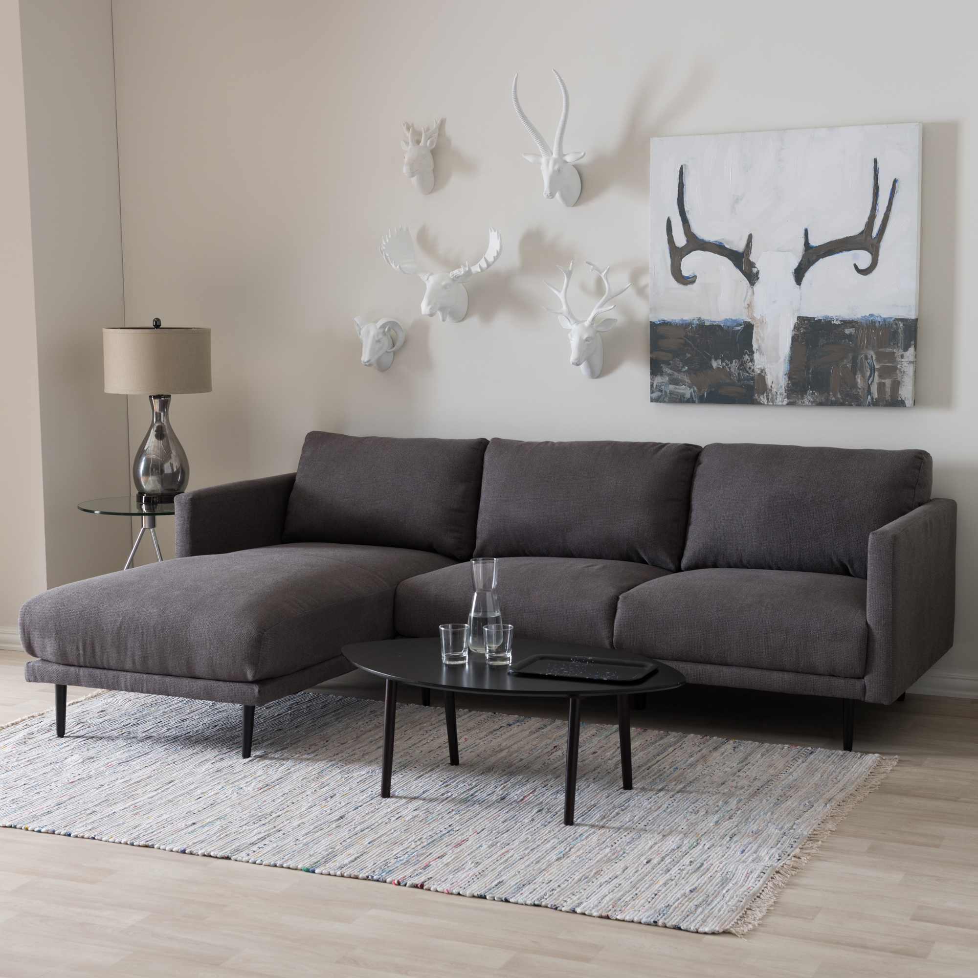 ... Baxton Studio Riley Retro Mid-Century Modern Grey Fabric Upholstered Left Facing Chaise Sectional Sofa ... : left chaise sectional - Sectionals, Sofas & Couches