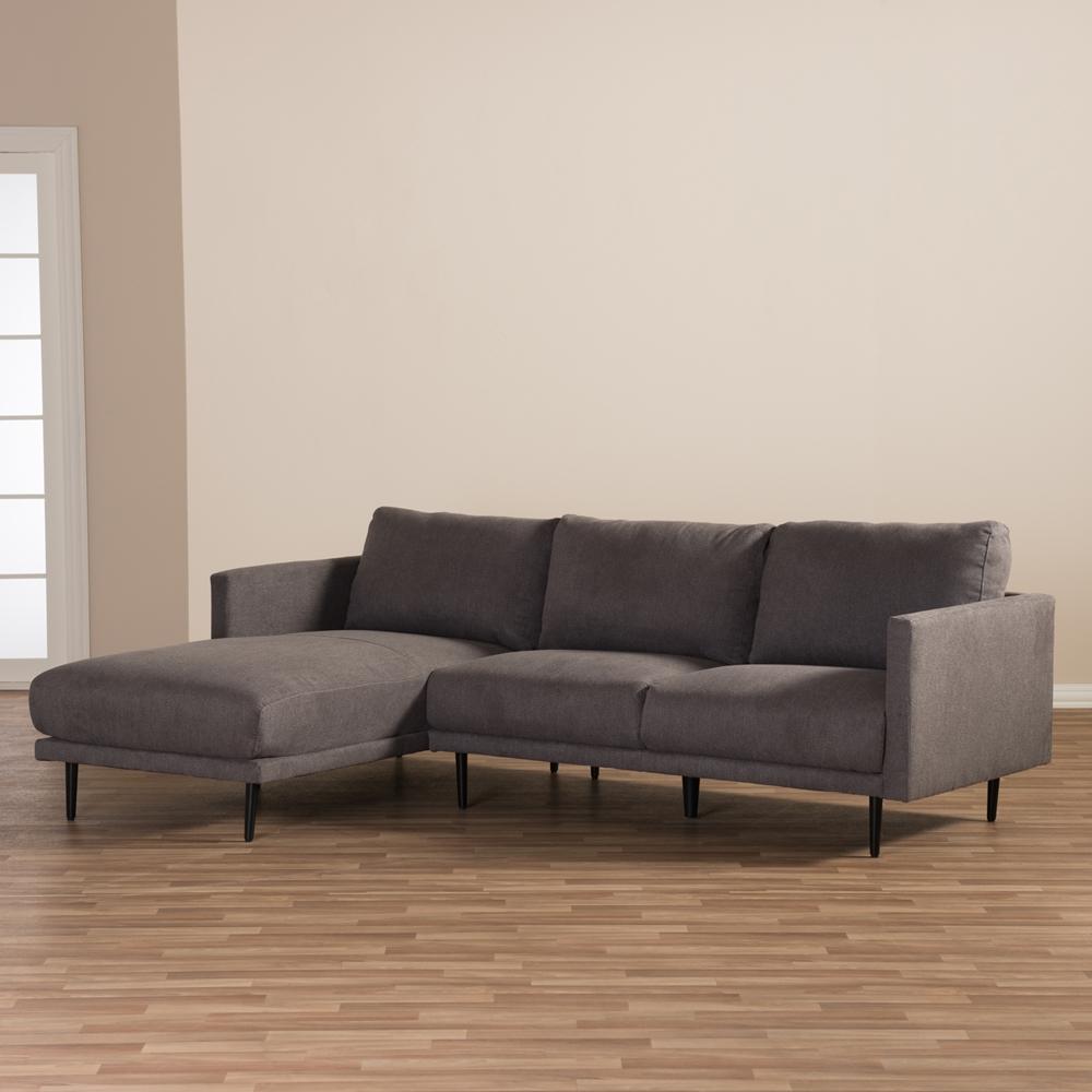 Sectional Sofa Grey Baxton Studio: Baxton Studio Riley Retro Mid-Century Modern Grey Fabric