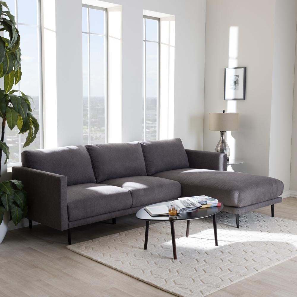Mid Century Modern Sectional: Baxton Studio Riley Retro Mid-Century Modern Grey Fabric