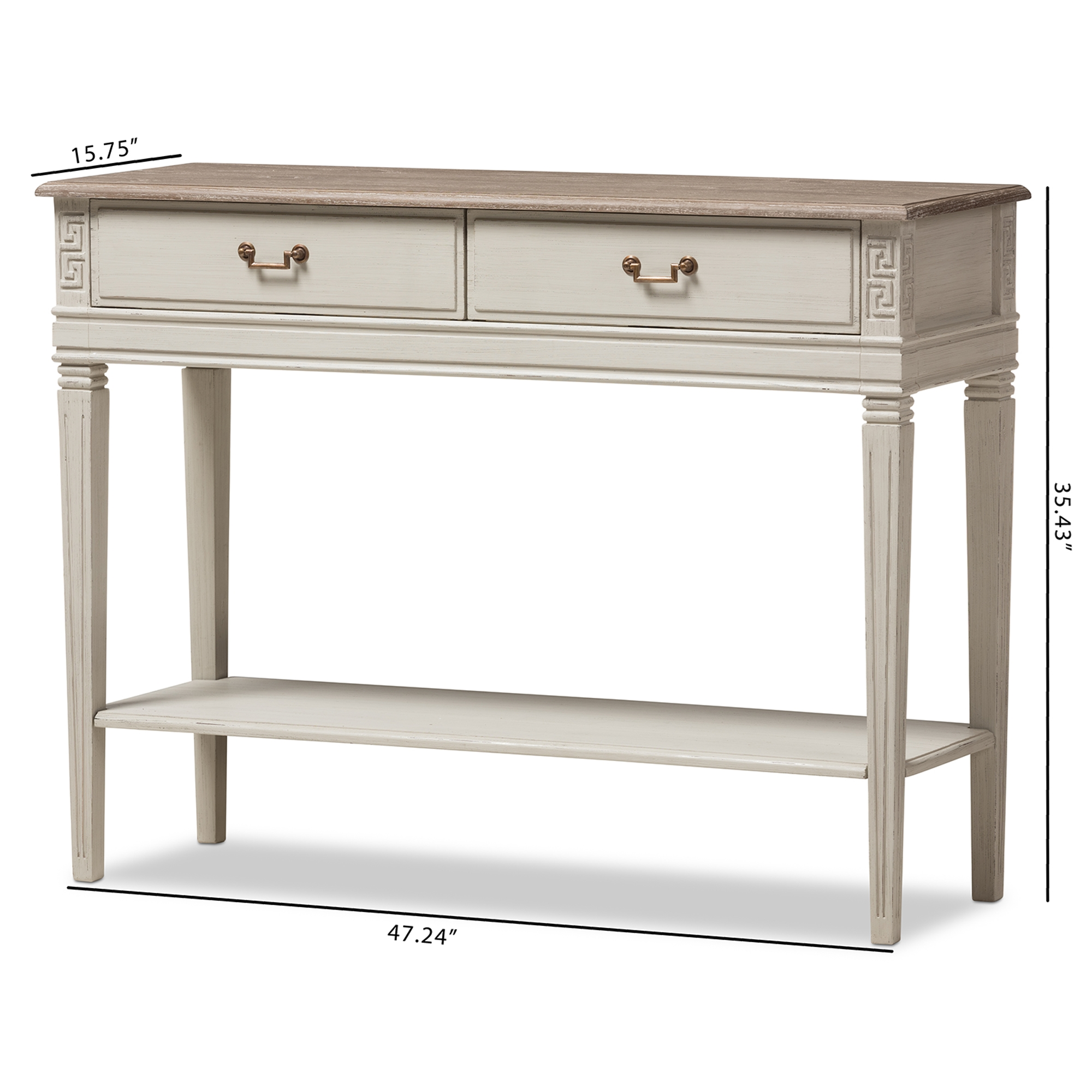Baxton Studio Arte French Provincial Style Weathered Oak