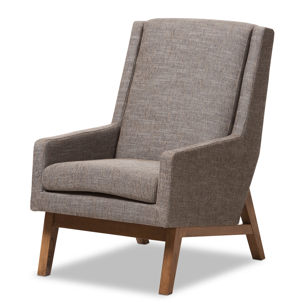 Modern classic armchair - Baxton Studio Aberdeen Mid Century Modern Walnut Wood Finishing And Gravel Fabric Upholstered Lounge Chair